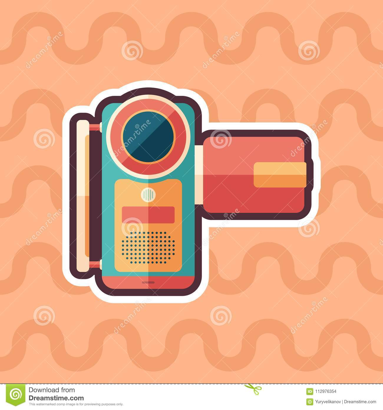 Portable digital video camera sticker flat icon with color background.