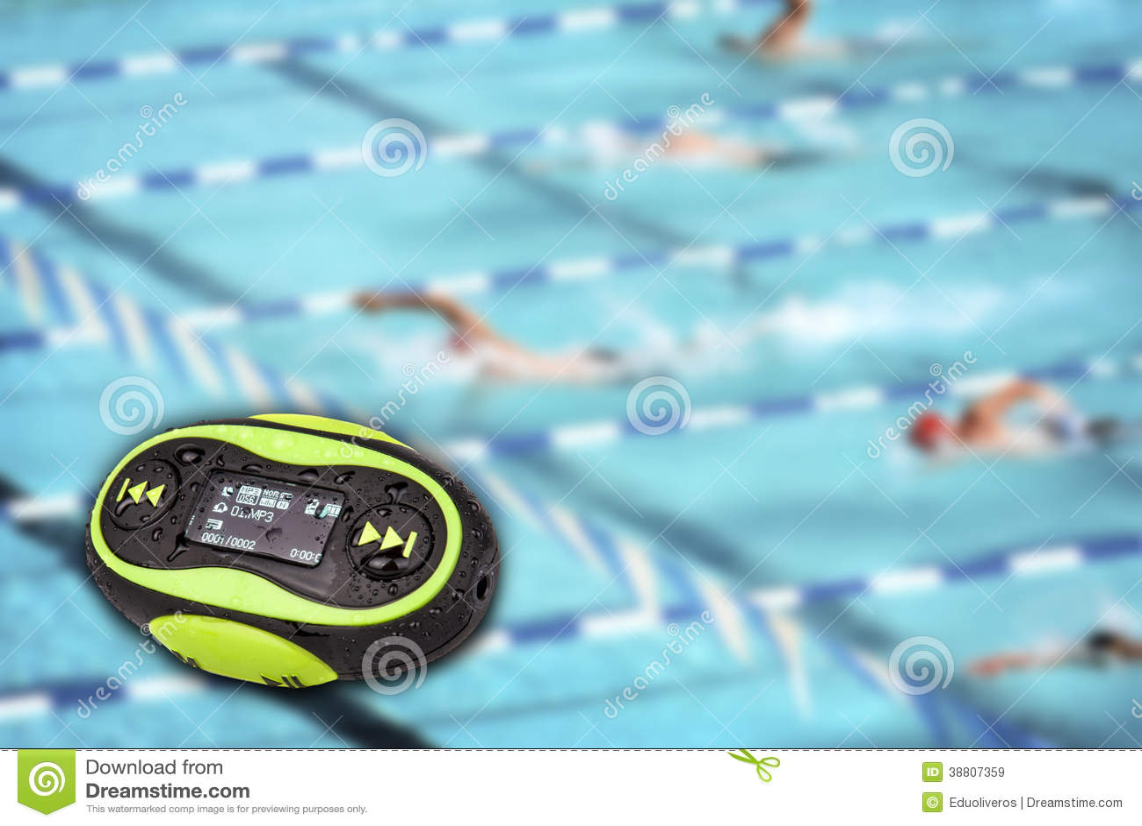 Portable Mini MP3 Swimming Pool Background Stock Image