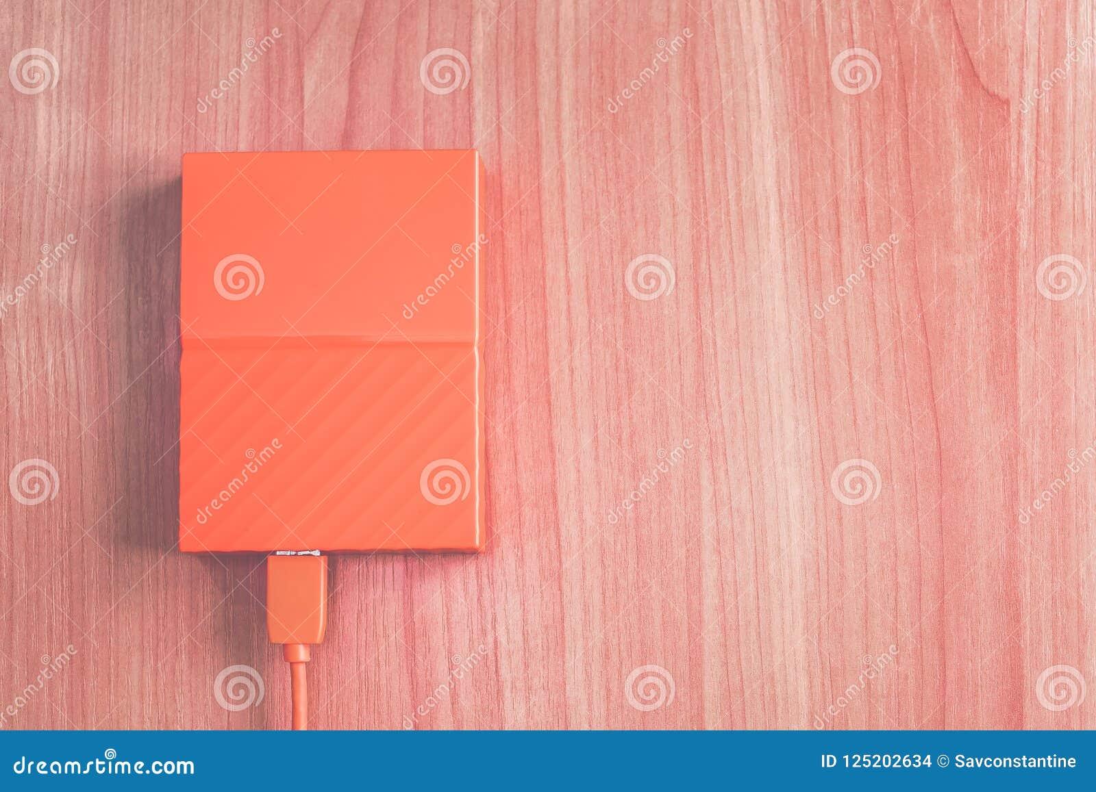 orange external hard drive
