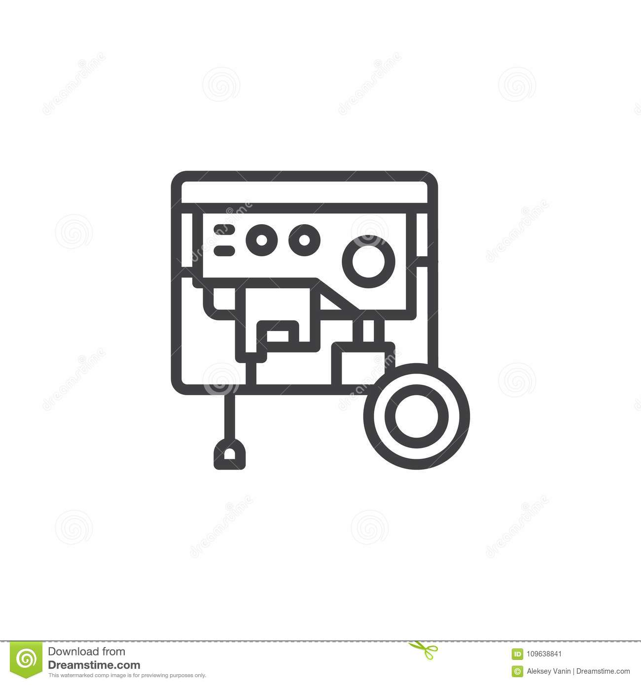 Portable Power Generator Line Icon Stock Vector - Illustration of ...