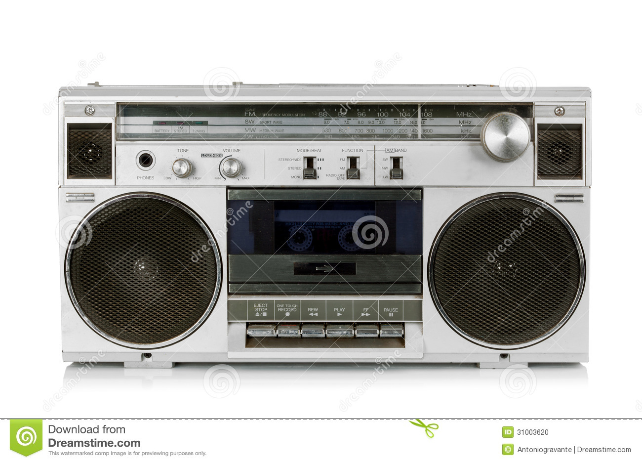 portable vintage radio cassette recorder stock photo. Black Bedroom Furniture Sets. Home Design Ideas
