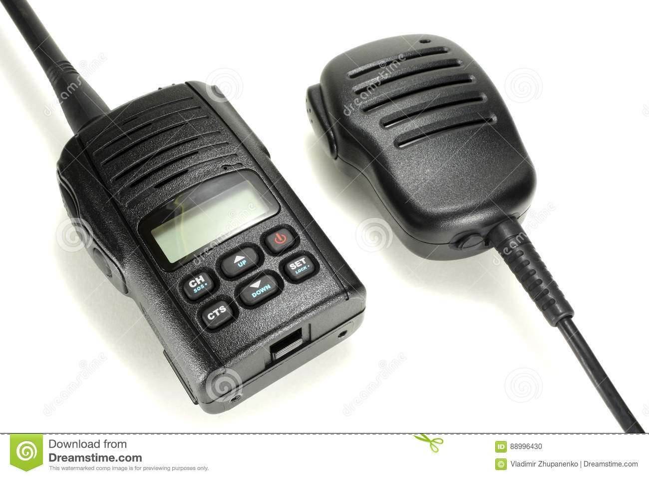 Portable Walkie-talkie With Handheld Microphone Isolated On A White
