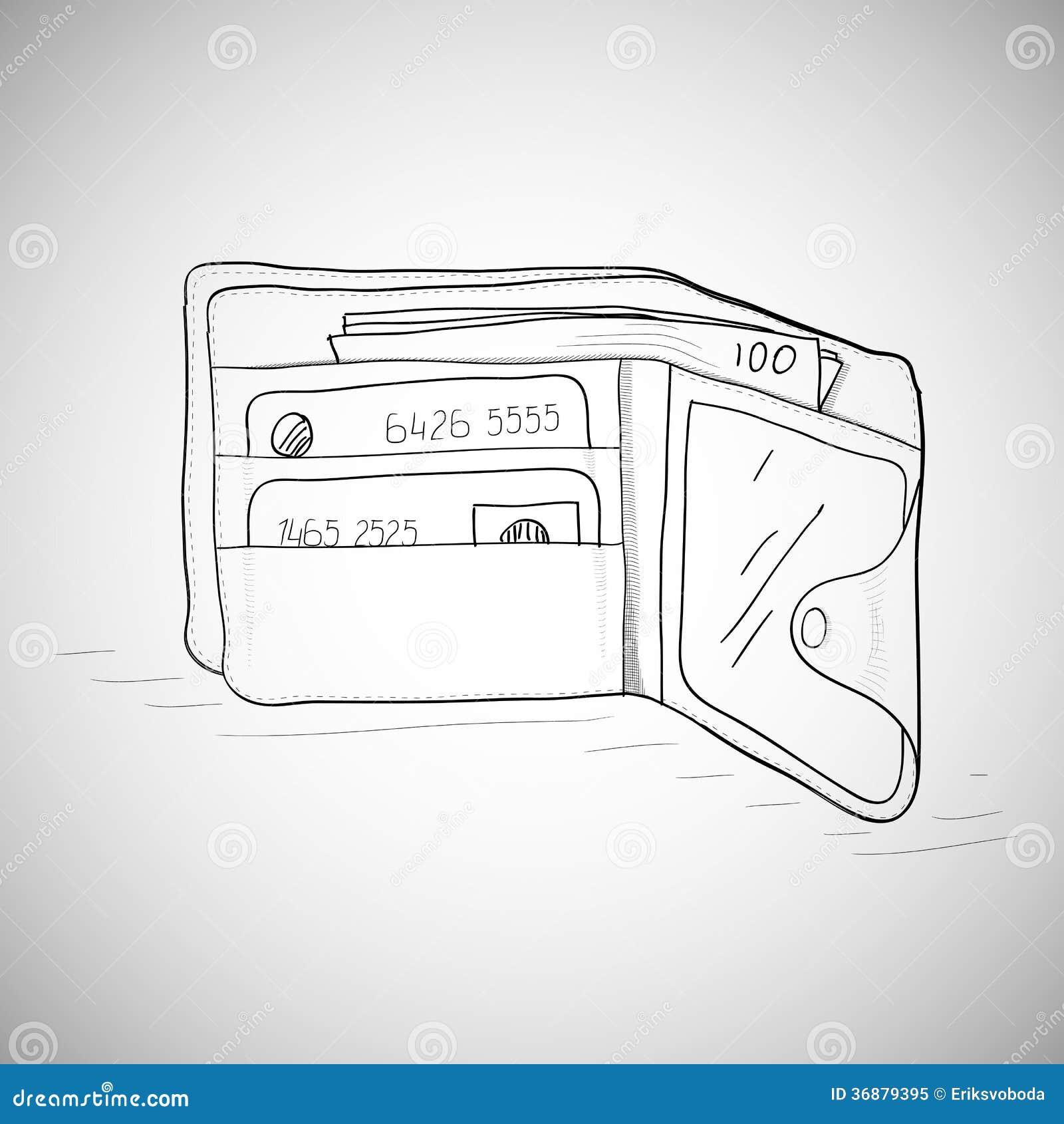 Download Portafoglio Di Cuoio Con I Soldi E Le Carte Illustrazione Vettoriale - Illustrazione di pagamento, scambio: 36879395