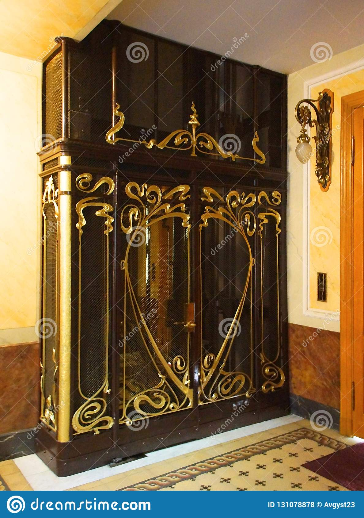 Portal Of The Lift In The Art Nouveau Style Stock Photo