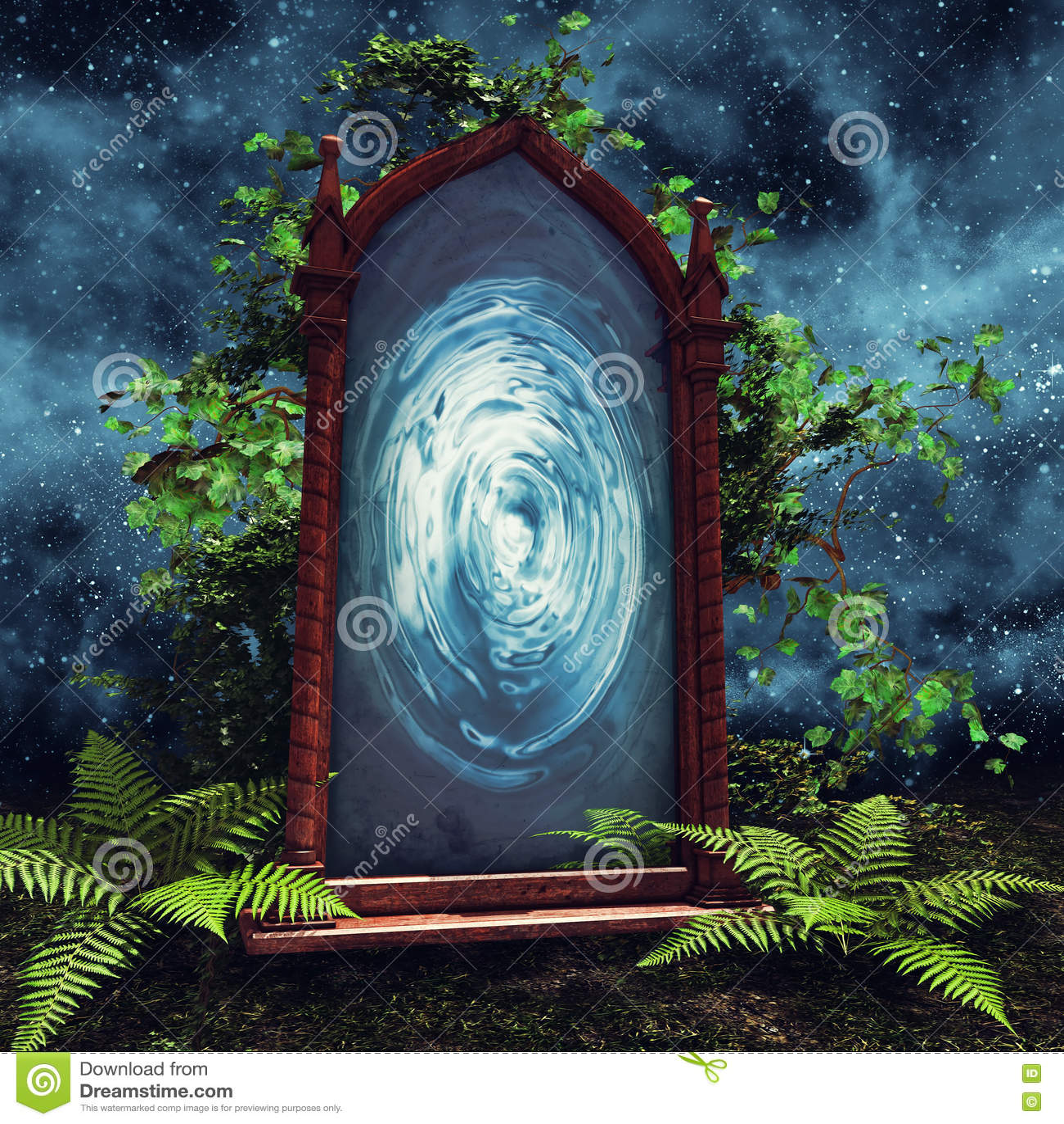 Portal m gico con las plantas verdes stock de ilustraci n for Z portal