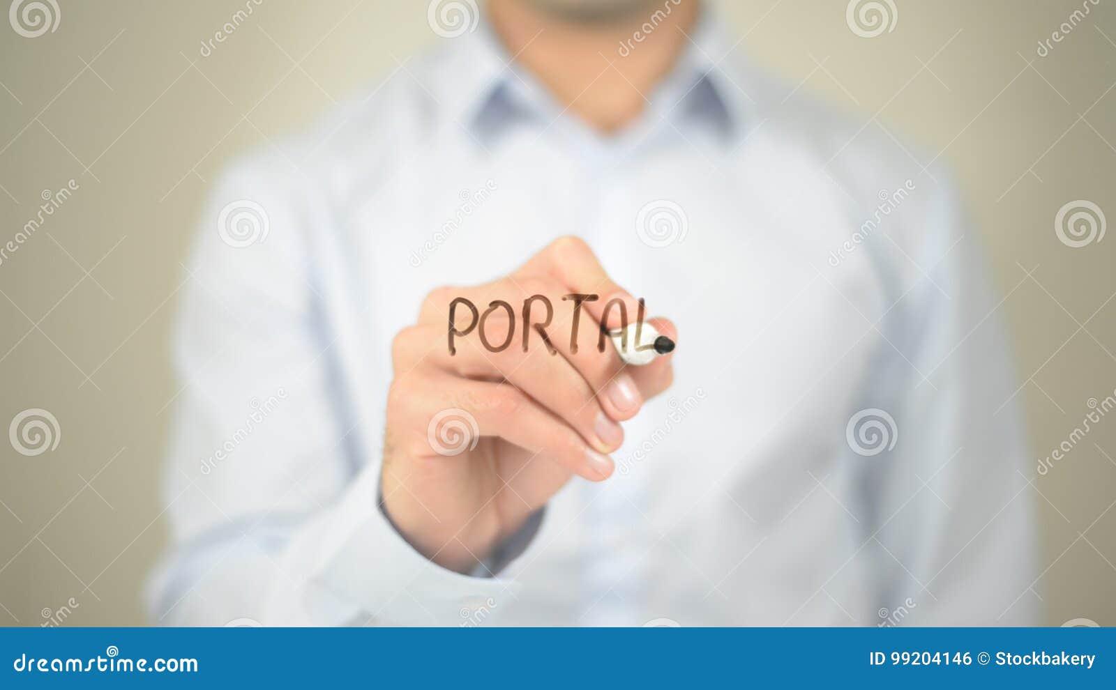 Portal , Man writing on transparent screen