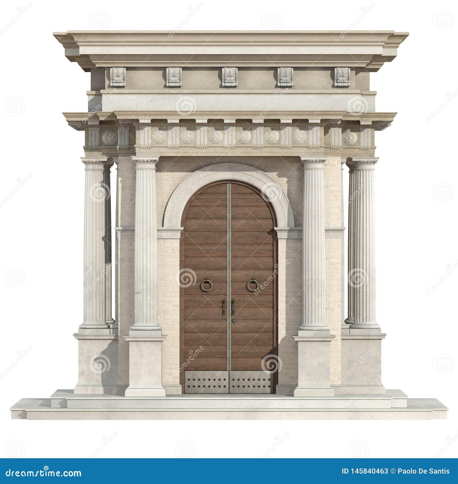 Portal viejo en estilo neoclásico aislado en blanco