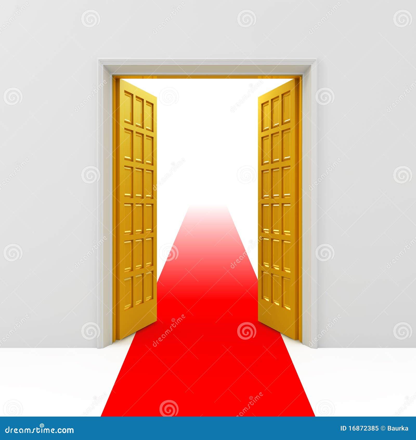 Portas abertas douradas