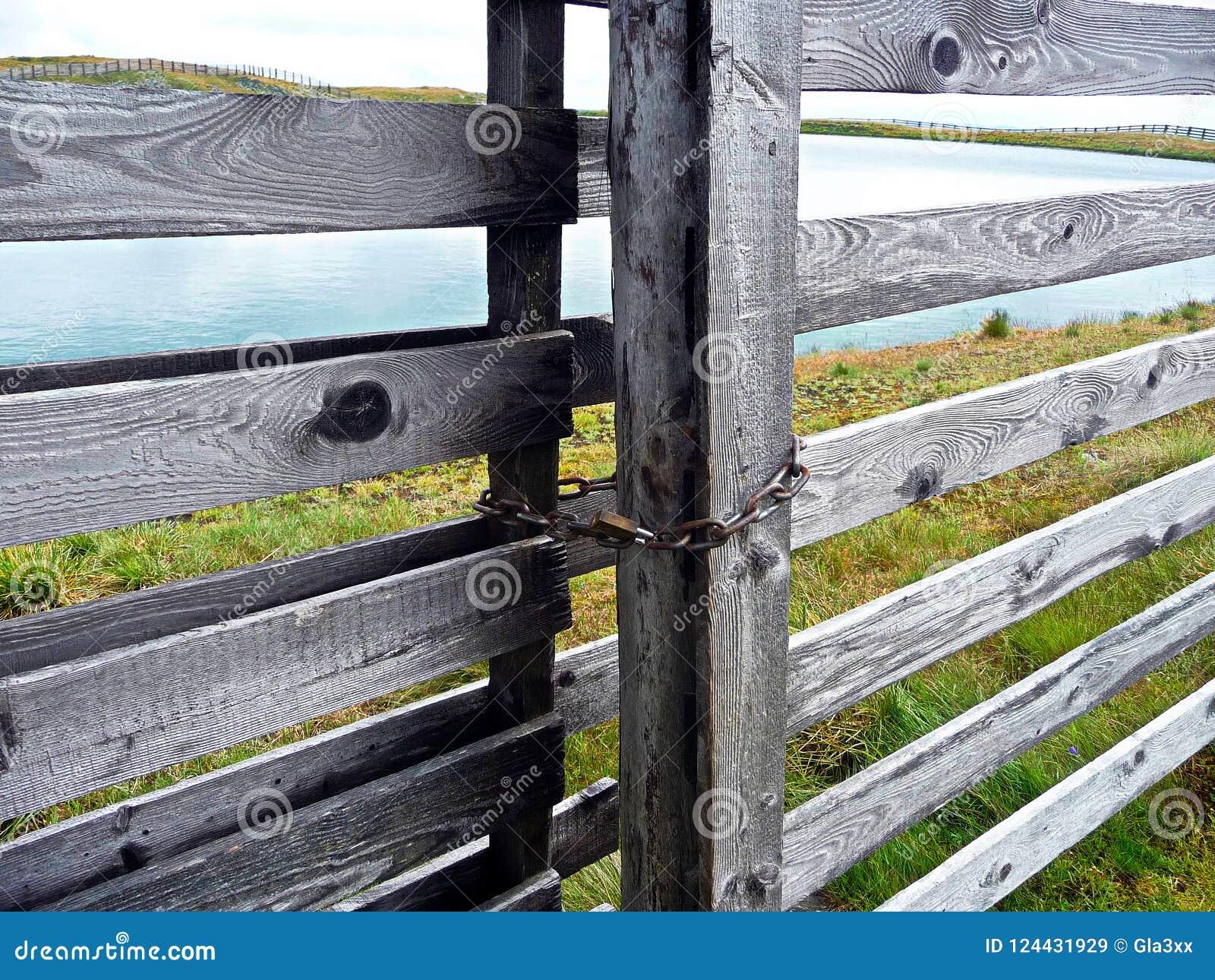 Portas de madeira Lago além da porta