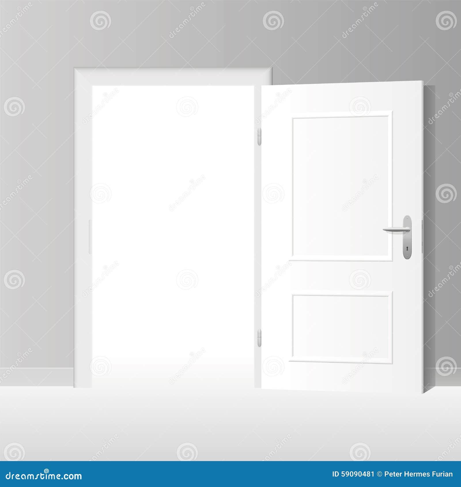 Porte blanche grande ouverte illustration de vecteur for Porte ouverte