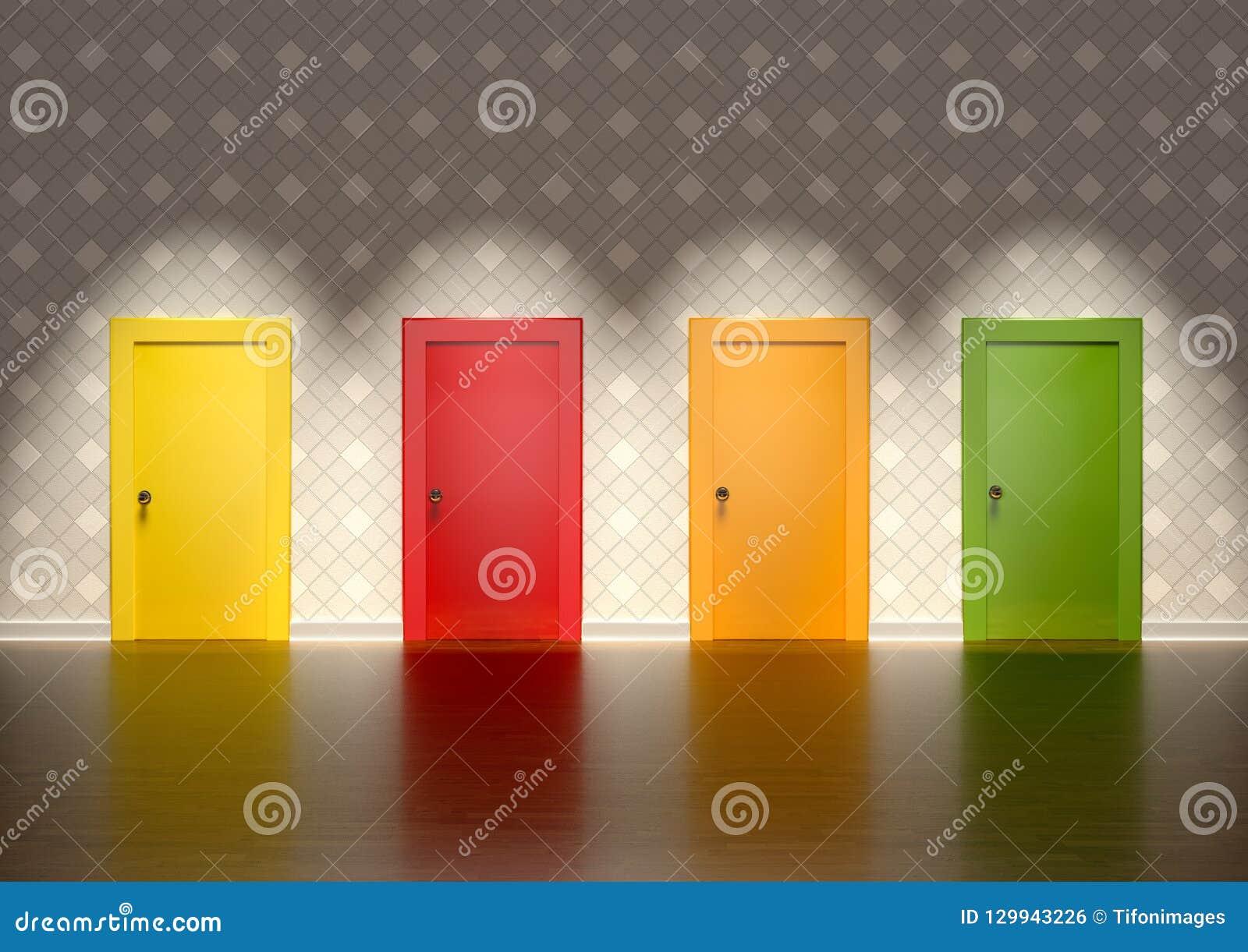Porte Da Interno Colorate porte colorate in una stanza che rappresenta il concetto