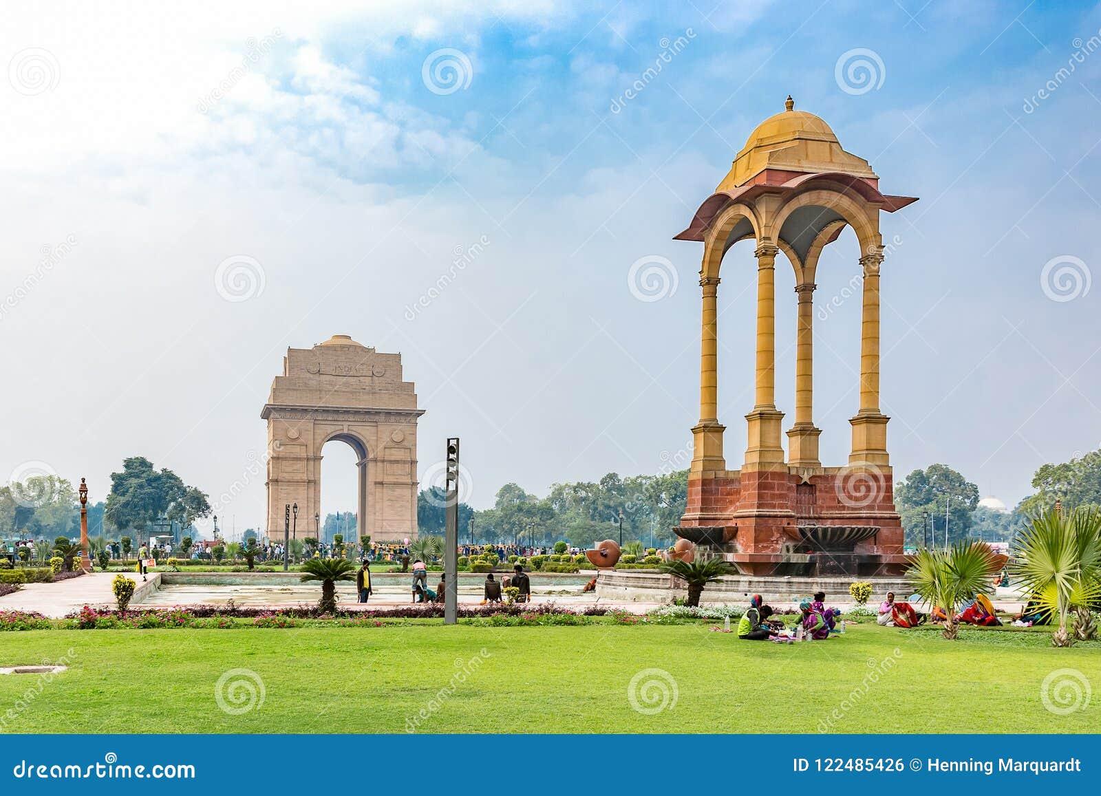 Porte d Inde et auvent, New Delhi, Inde