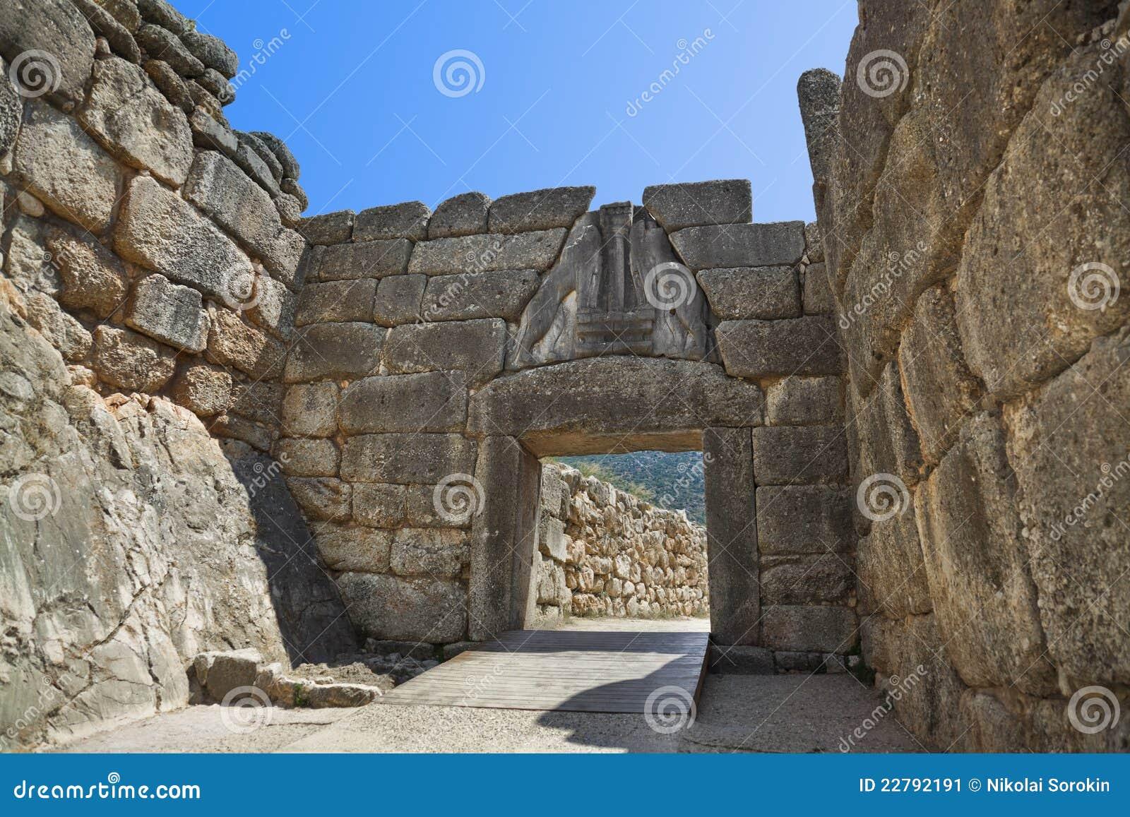 Porte de lion chez Mycenae, Grèce