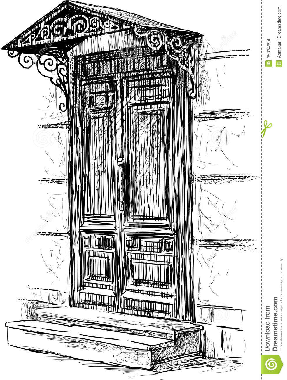 porte de maison de ville illustration de vecteur image du dessin 35334694. Black Bedroom Furniture Sets. Home Design Ideas