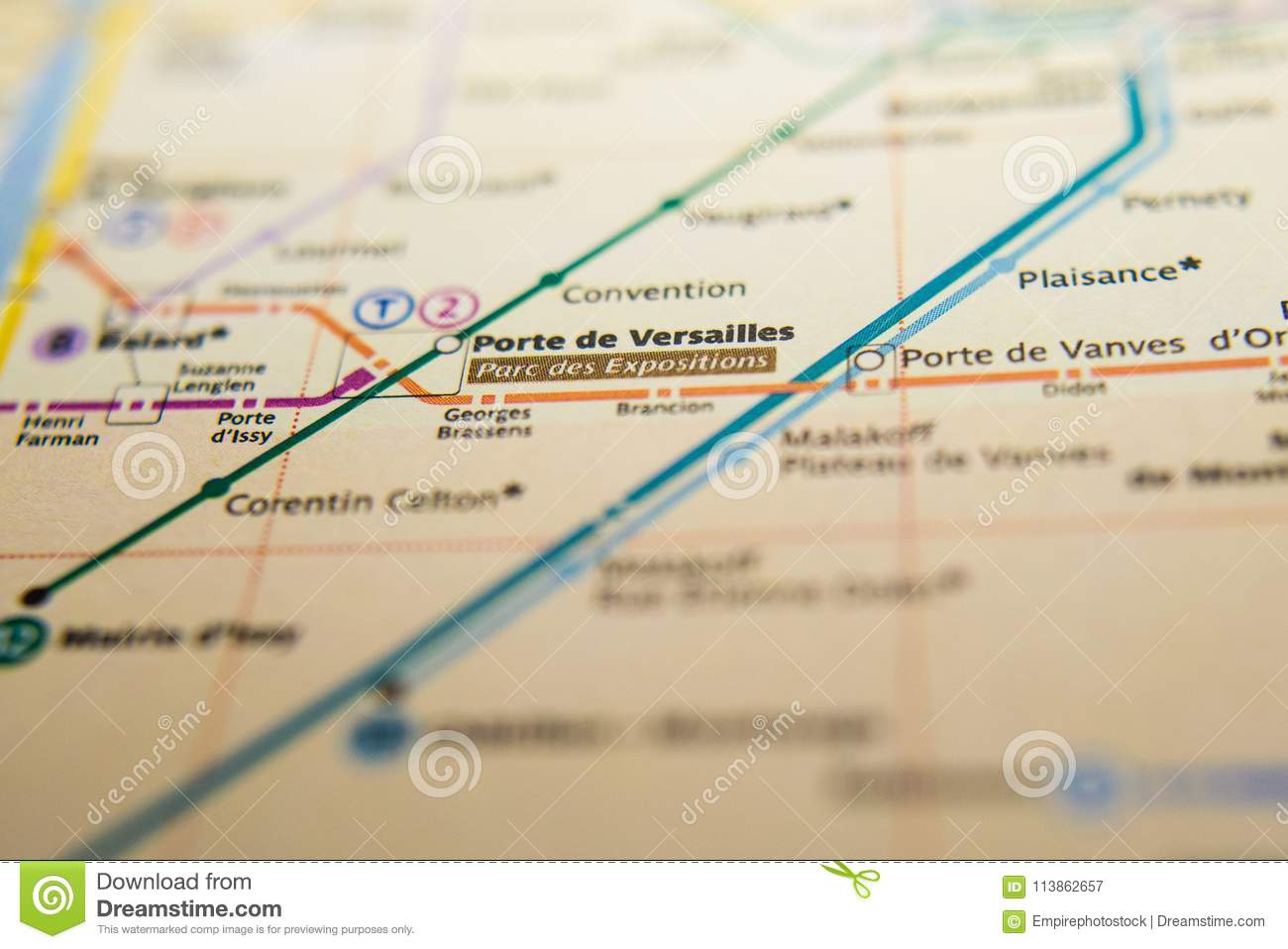 Paris Metro Map Download.Porte De Versailles Metro Station On A Printed Paris Metro Map Under