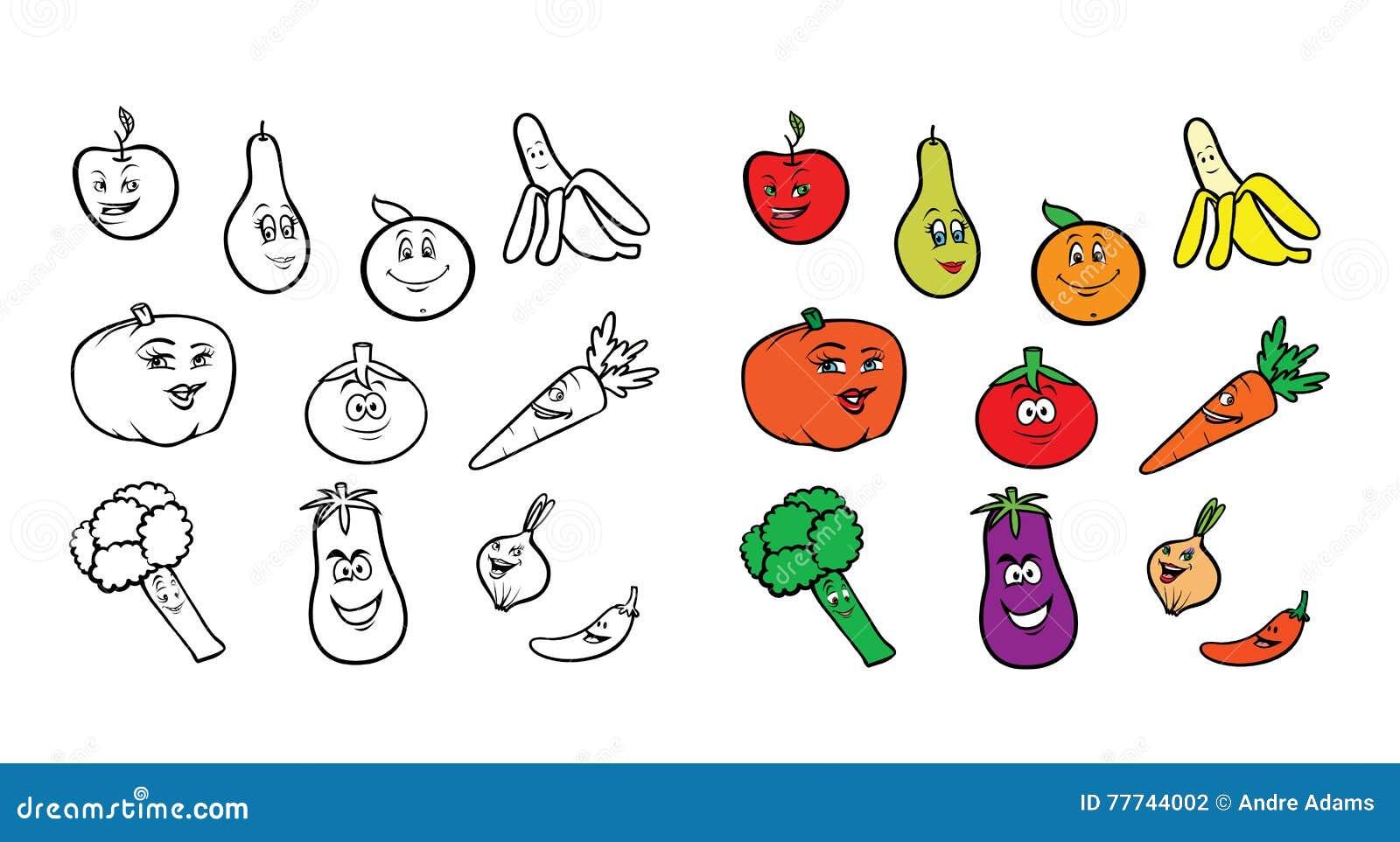 Coloriage Pomme Et Oignon Dessin Anime.Porte Des Fruits Livre De Coloriage De Veggies Illustration