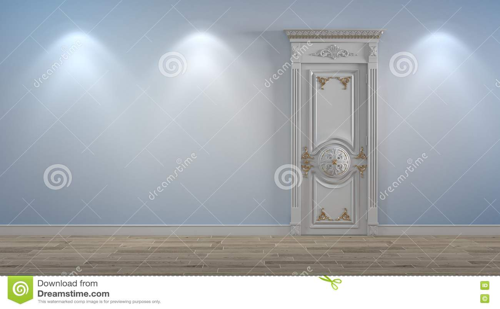 Porte en bois blanche sur le mur léger