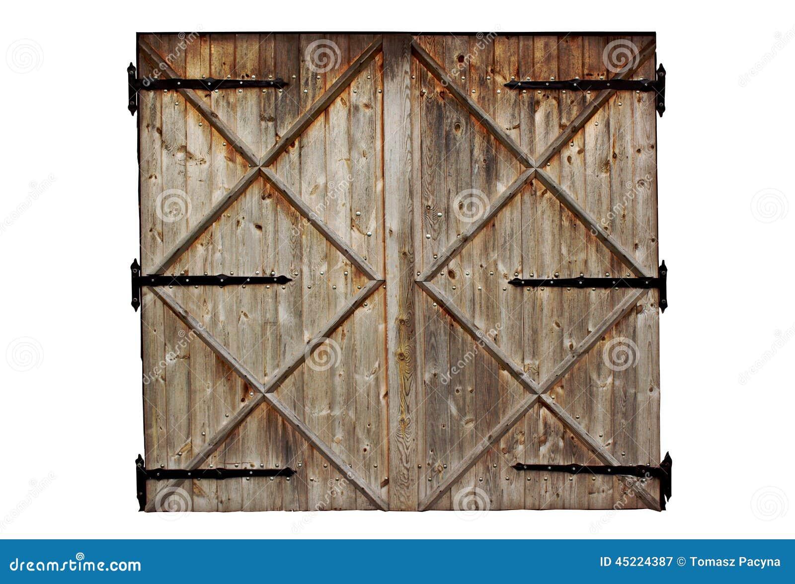 Porte en bois de pays de vieille grange d 39 isolement sur le for Porte de grange bois