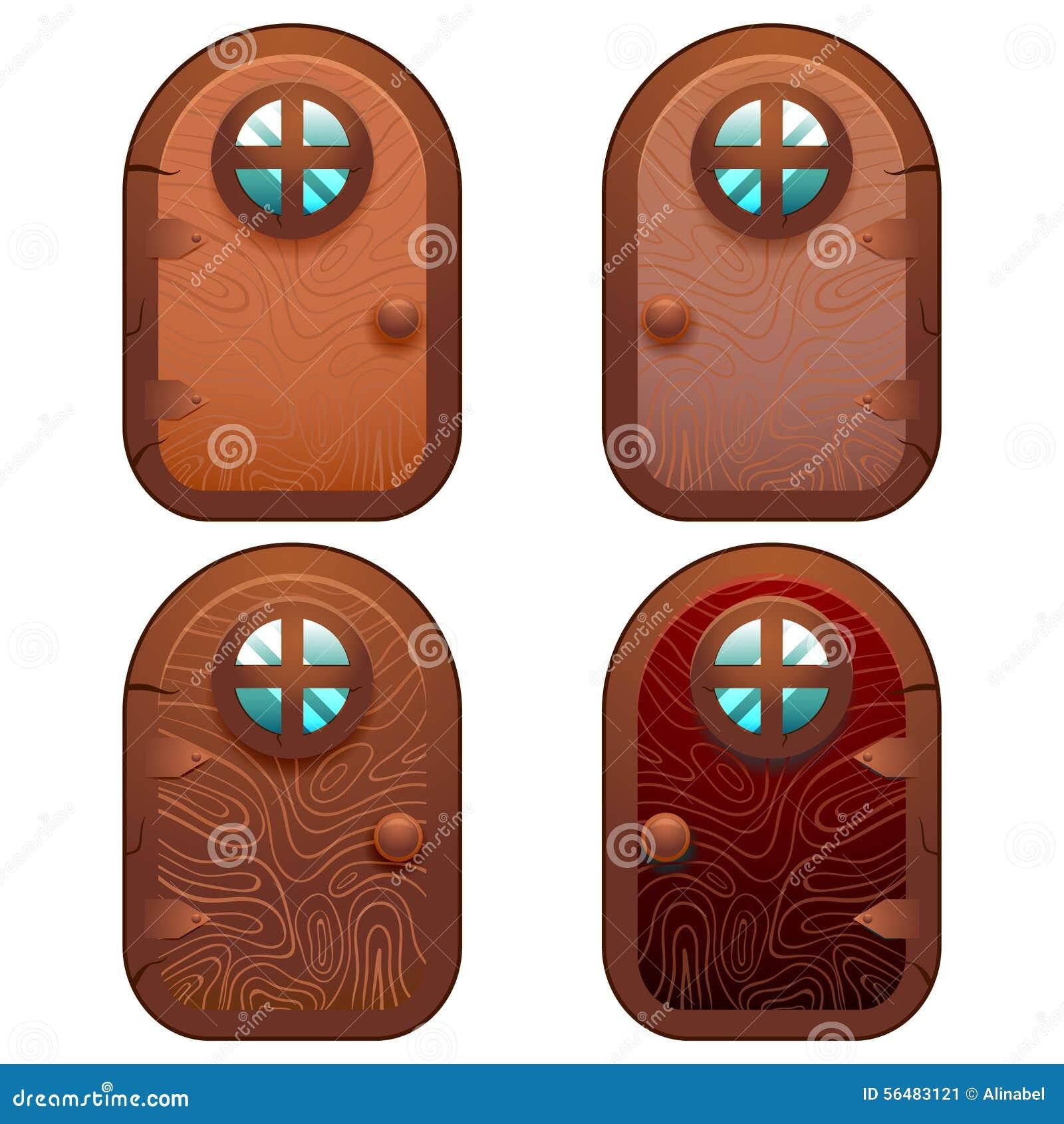 Porte féerique en bois et en pierre de bande dessinée pour le jeu d Ui