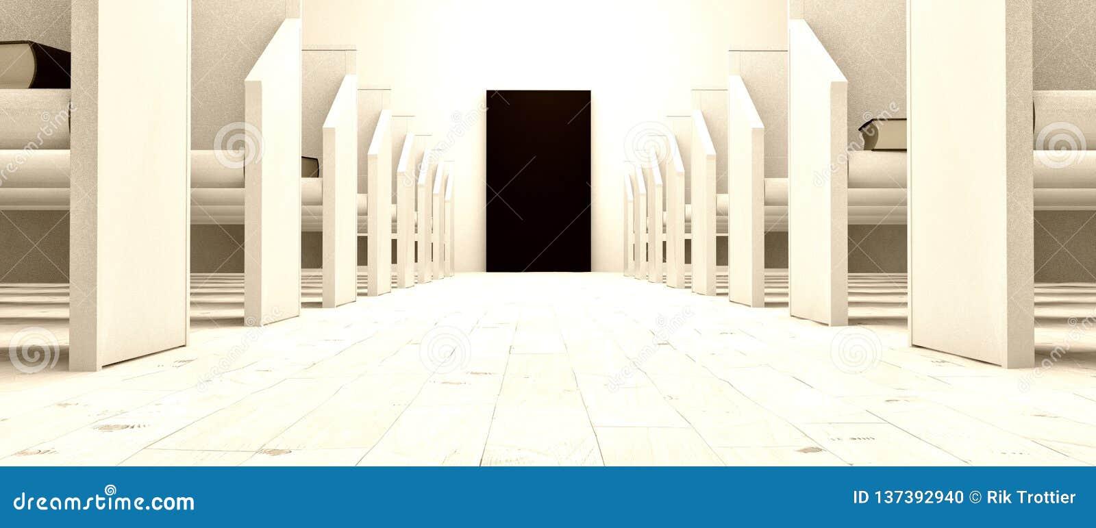 Porte noire dans la petite église blanche