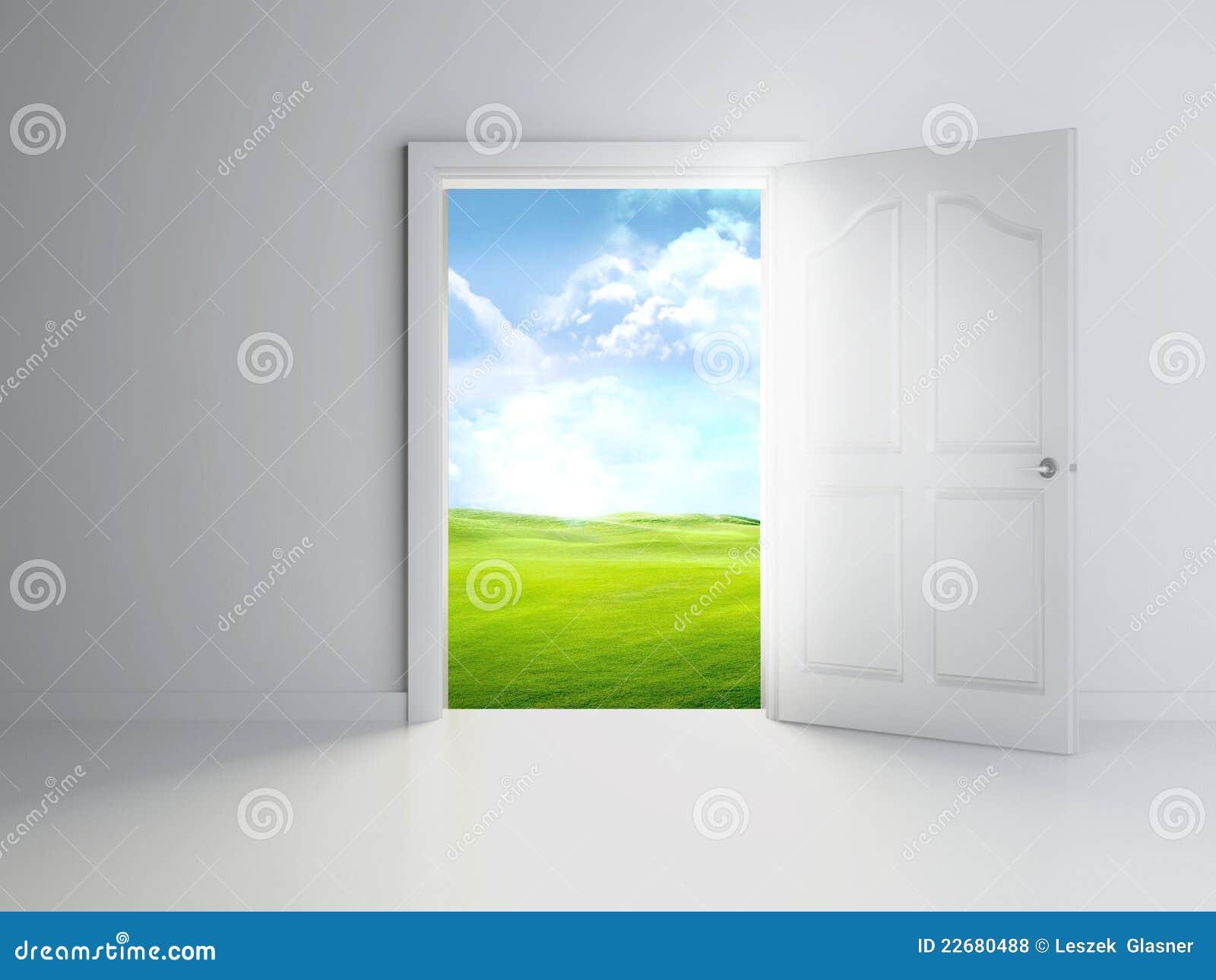Porte ouverte 3d dans la chambre vide photos libres de for Chambre vide