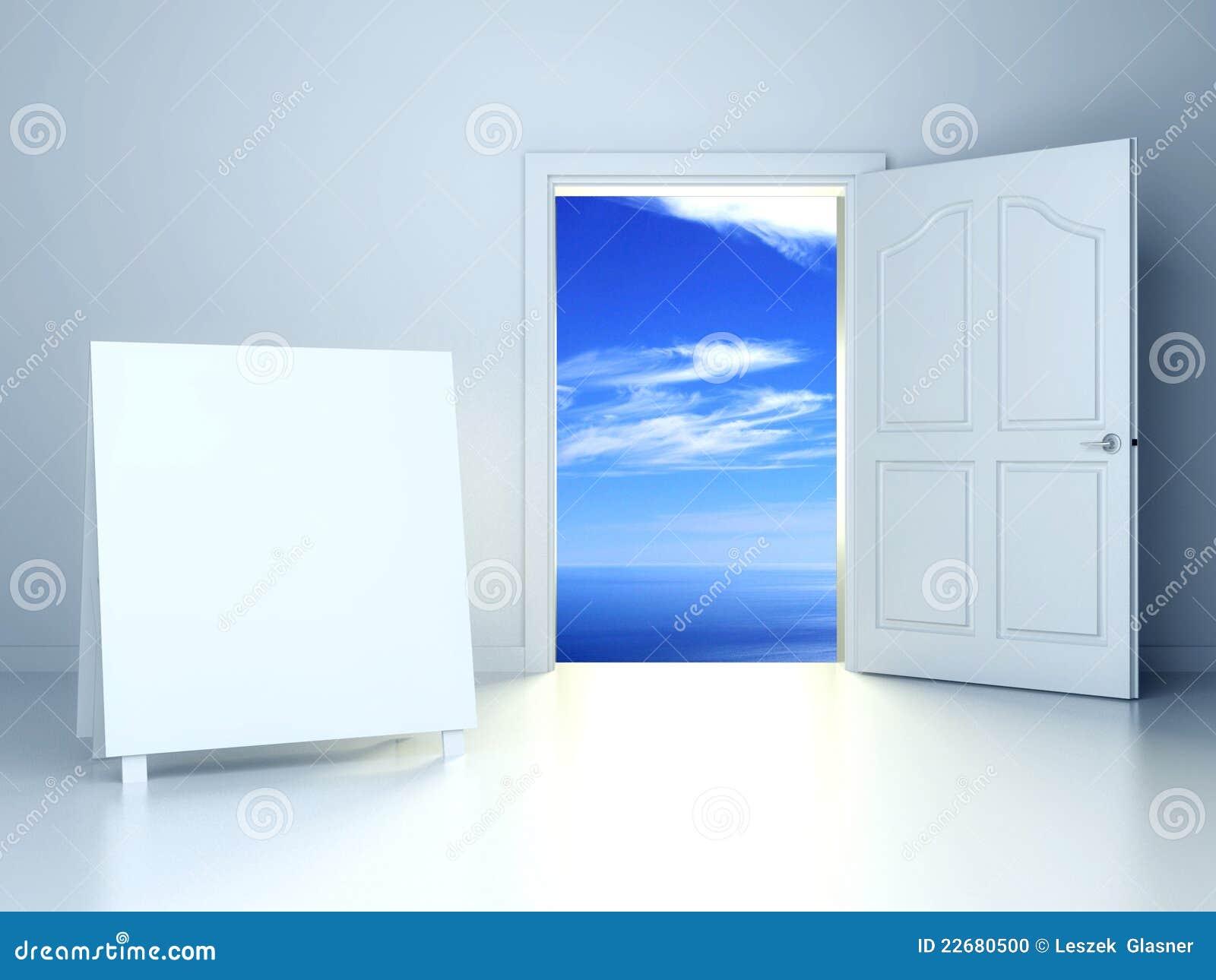 Porte ouverte 3d dans la chambre vide avec la trame vide for Porte ouverte
