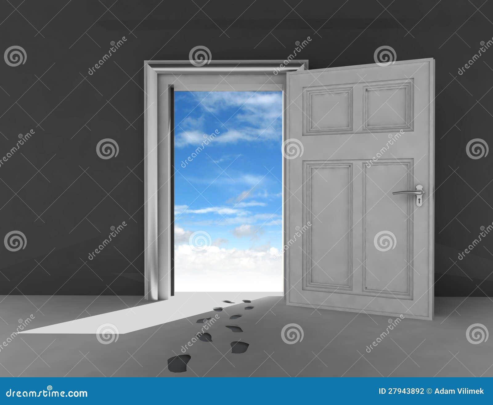 Porte ouverte au ciel avec des empreintes de pas for Porte ouverte
