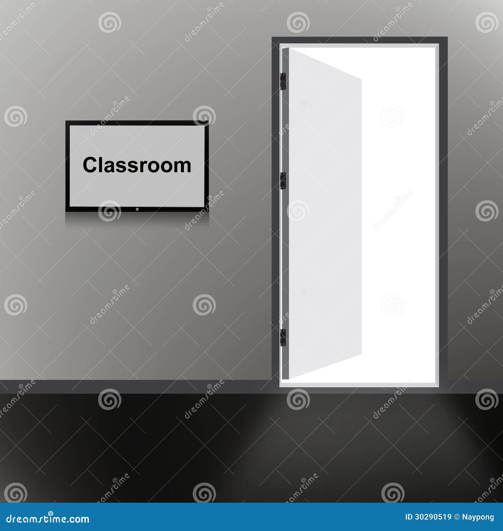 Porte ouverte avec le texte de salle de classe images for Decoration porte salle de classe