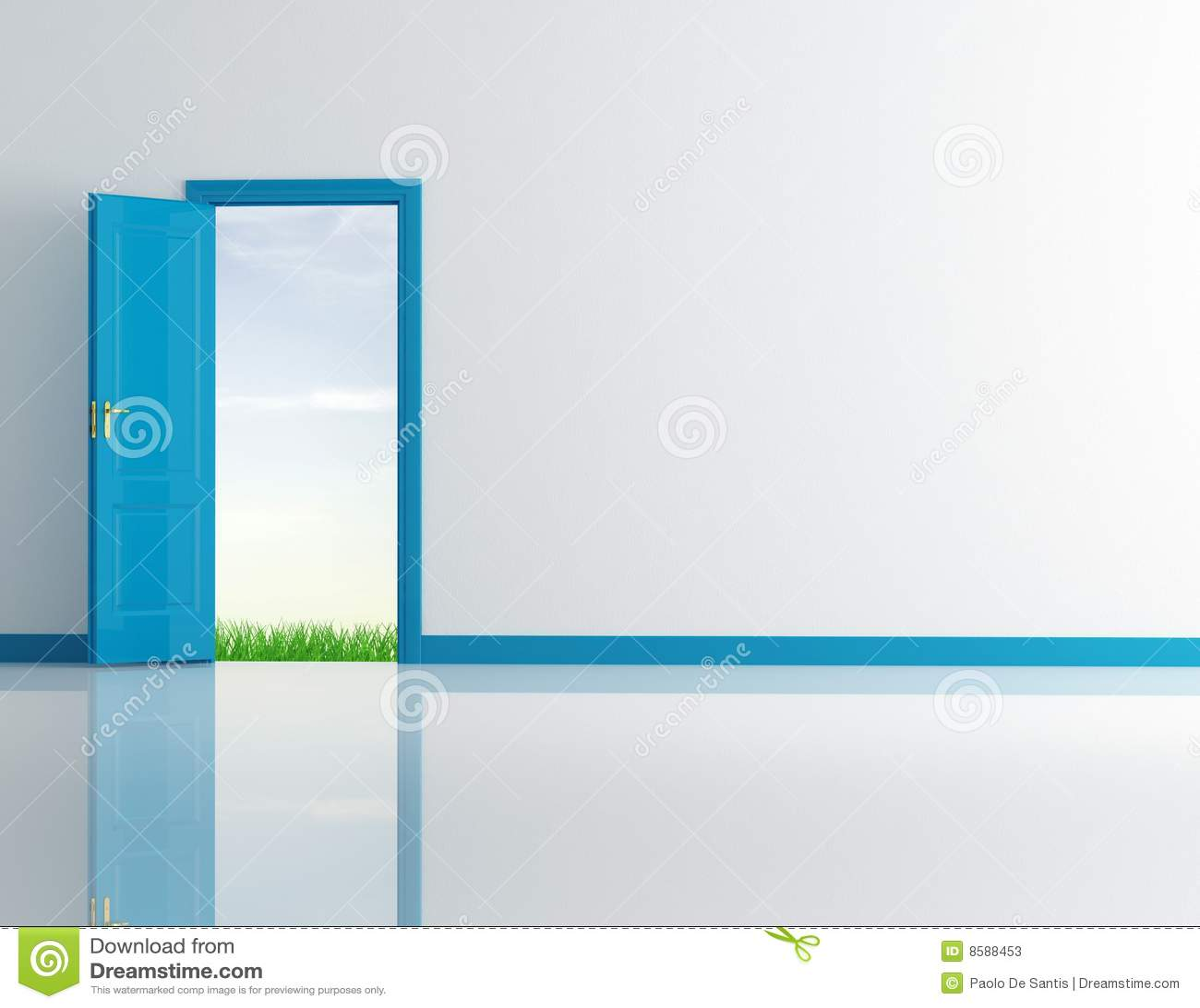 Porte ouverte bleue illustration stock image du int rieur for Porte ouverte dessin