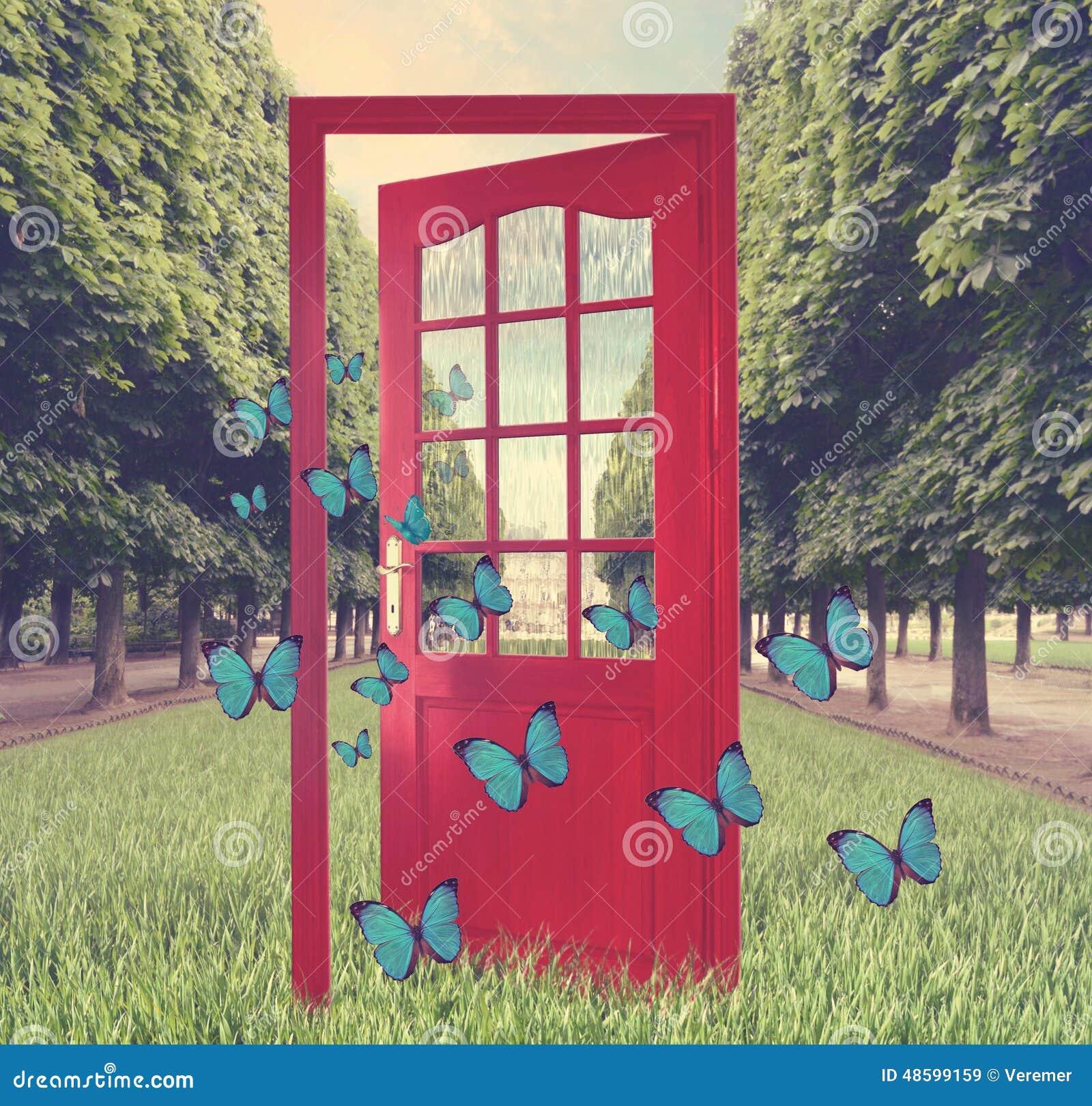 Porte ouverte dans les papillons verts de jardin et de vol for Petite porte de jardin