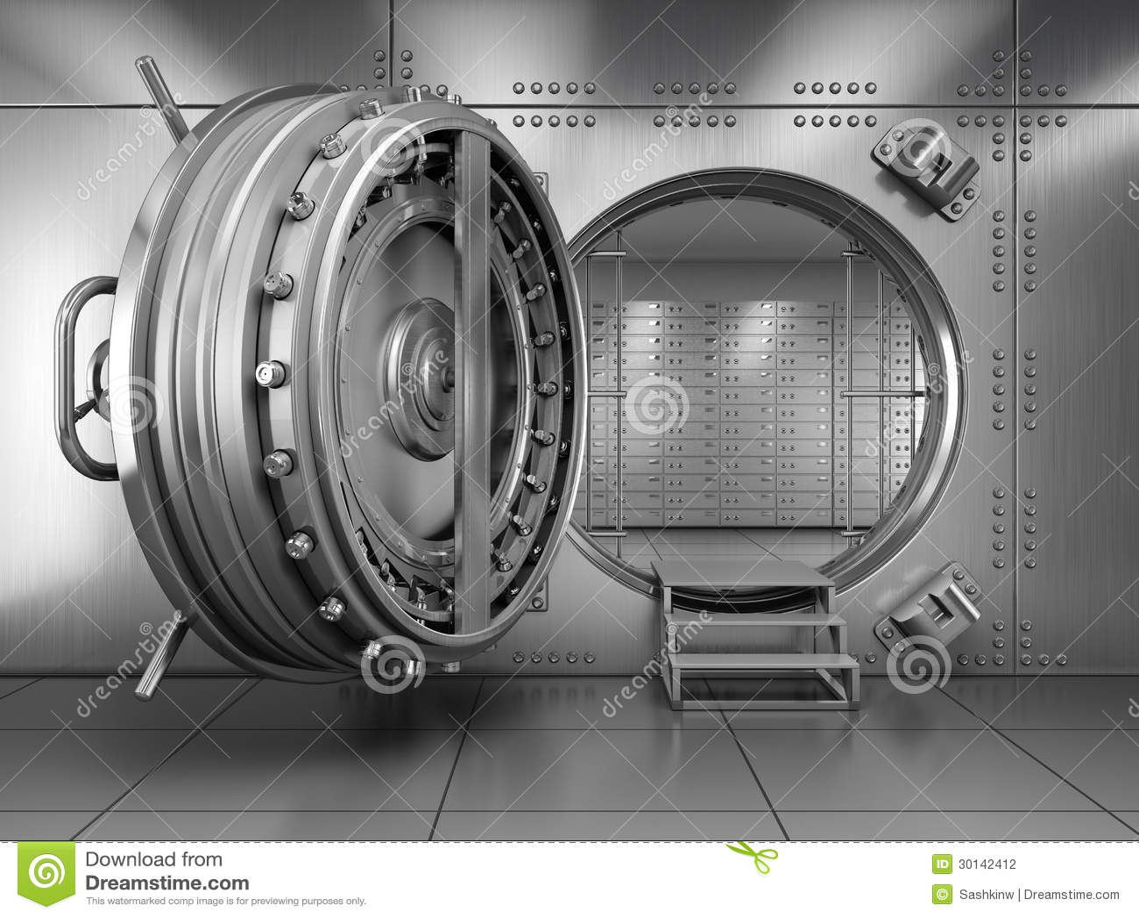 Ouvrez la porte de chambre forte de banque photographie stock image 30142412 for Porte blindee chambre forte