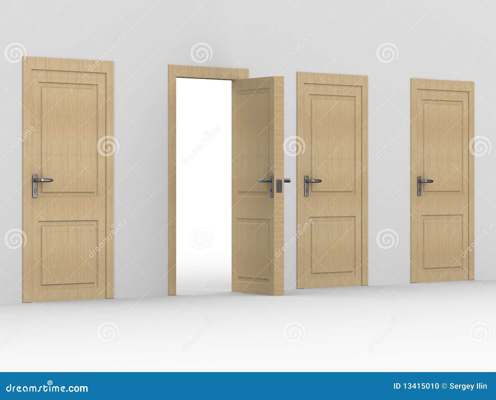 Porte ouverte en bois image 3d photo stock image 13415010 for Porte ouverte maison