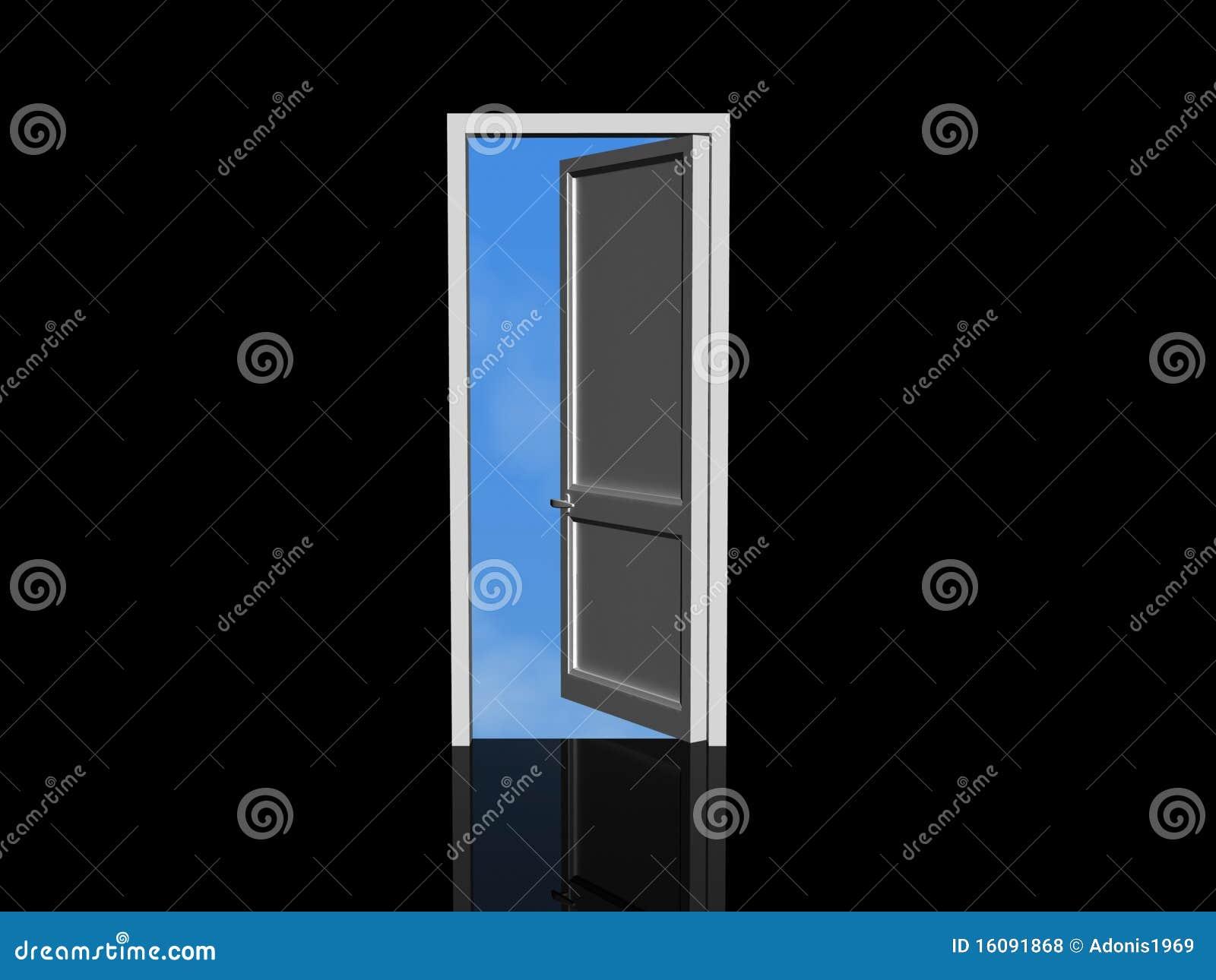 Porte ouverte et ciel bleu illustration stock for Porte ouverte