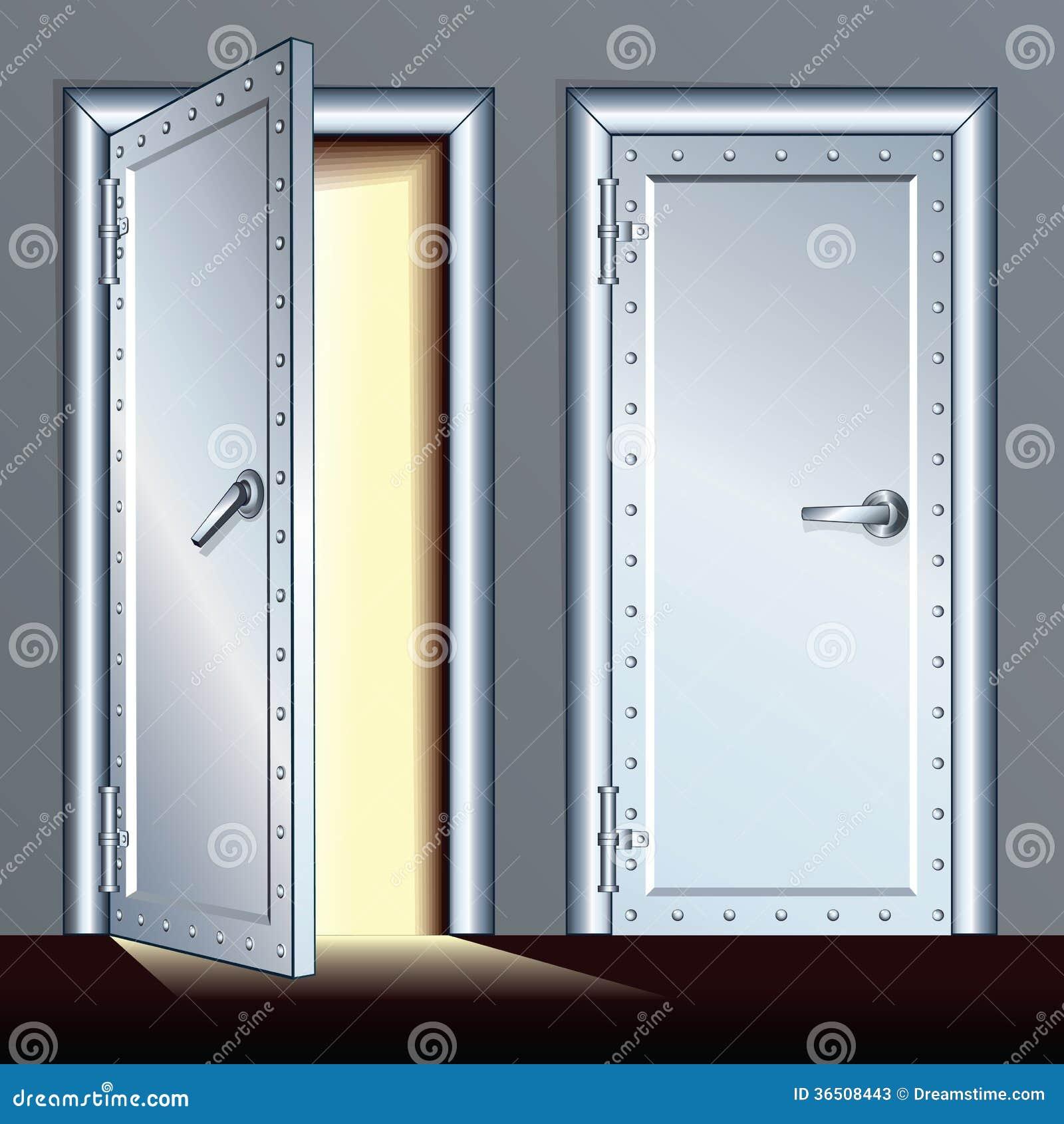Porte Ouverte Et Fermée De Chambre Forte. Illustration De Vecteur ...