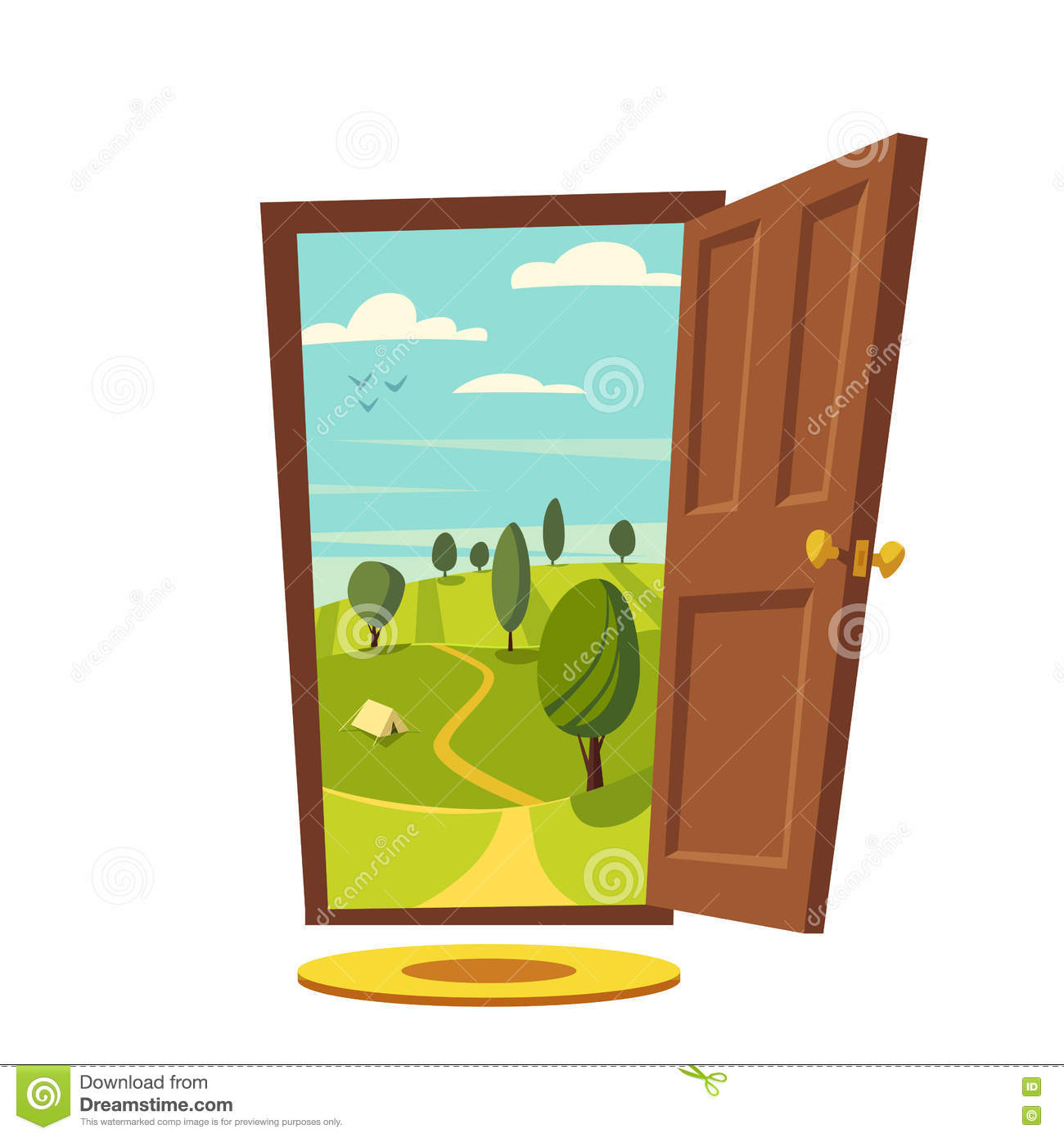 Open front door illustration for Porte ouverte