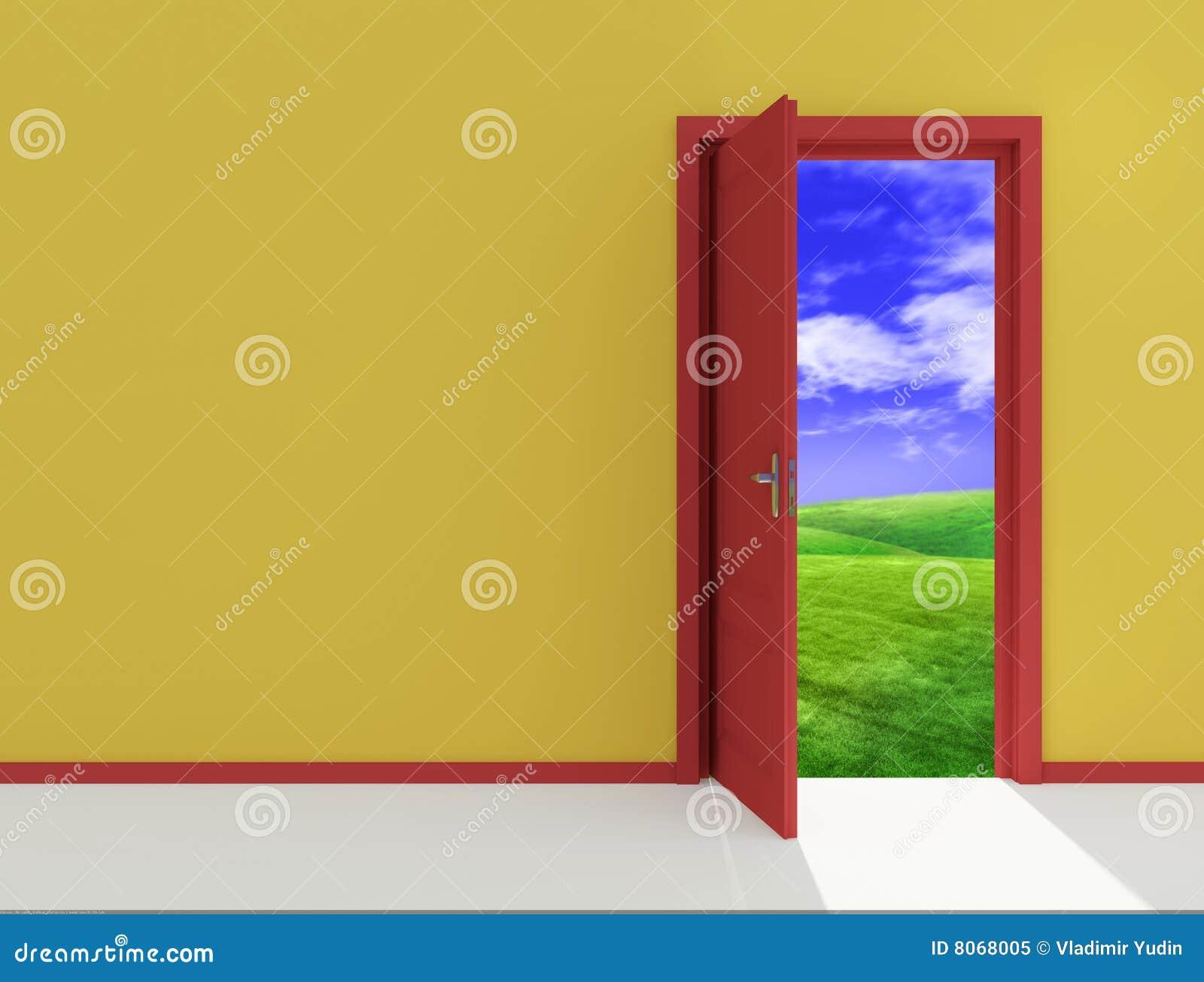 Porte ouverte rouge sur la zone illustration stock for Porte ouverte