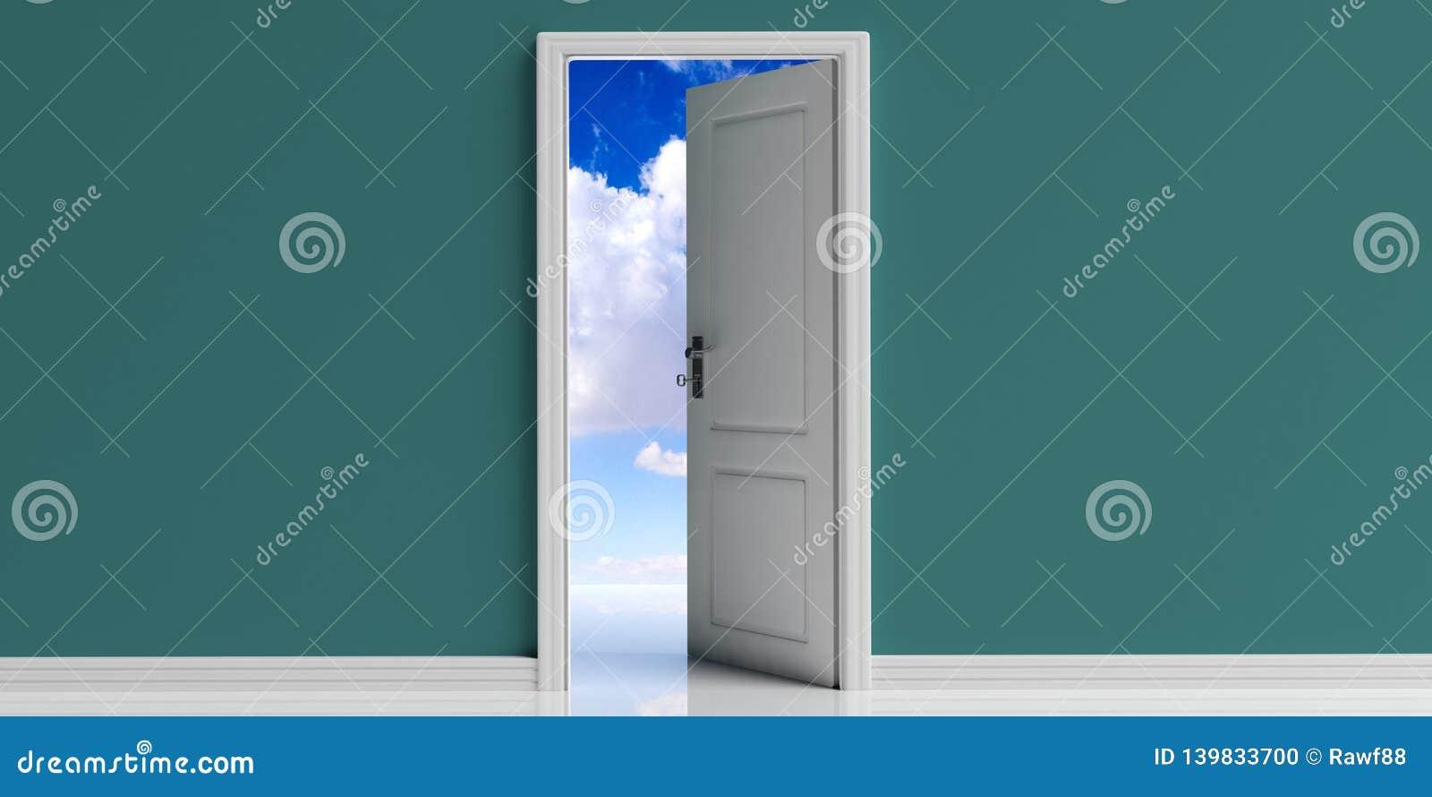 Porte ouverte sur le fond vert de mur, ciel bleu avec la vue de nuages hors de l ouverture de porte illustration 3D