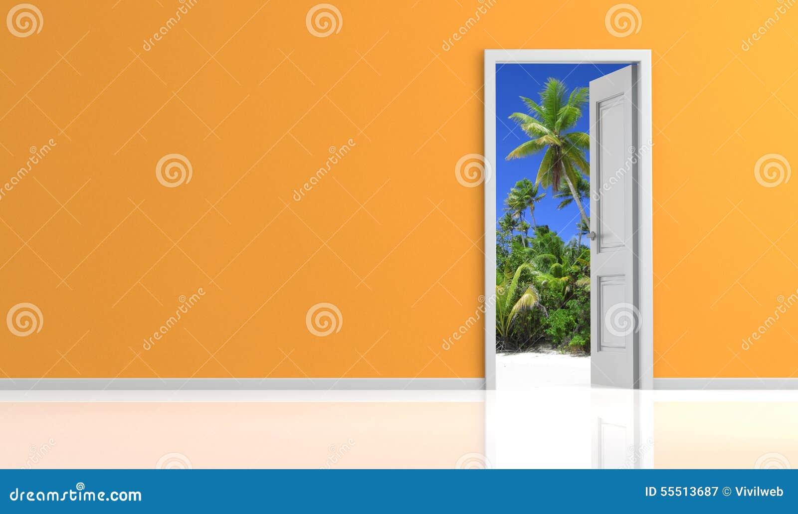 Porte ouverte sur un paysage tropical illustration stock for Porte ouverte