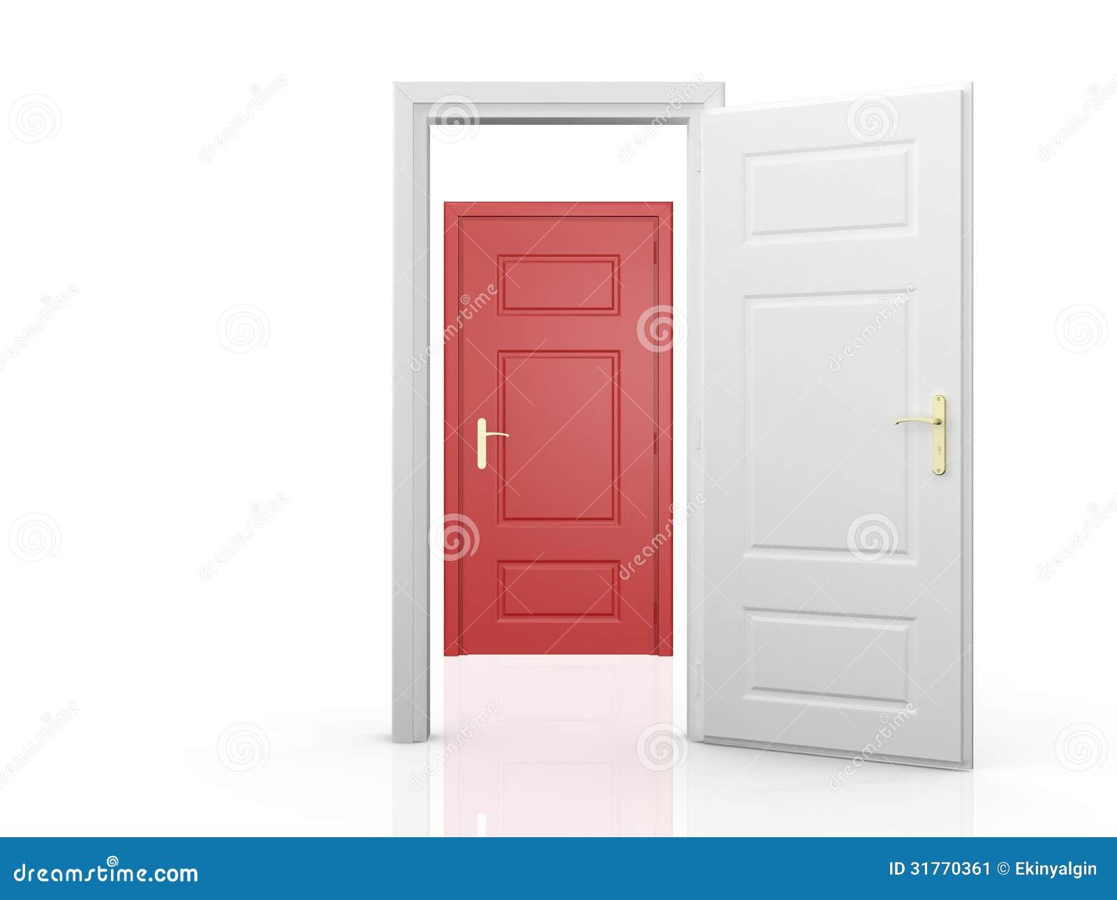 Porte rouge derri re la porte blanche image stock image - La balnche porte ...