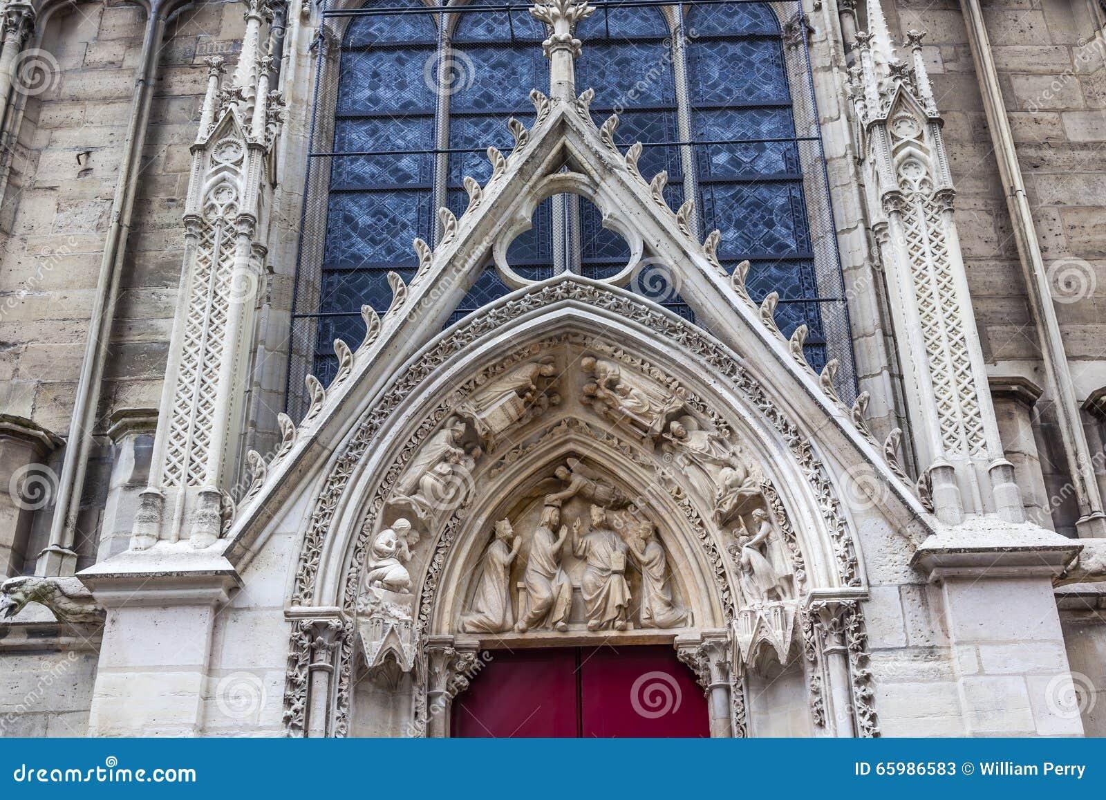 Porte Rouge Notre Dame Cathedral Paris France De Statues Bibliques