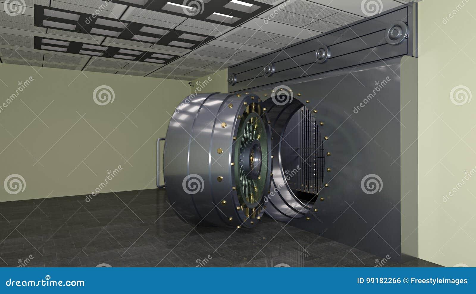 Porte Sûre, Grande Porte De Chambre Forte De Banque En Métal Ouverte ...