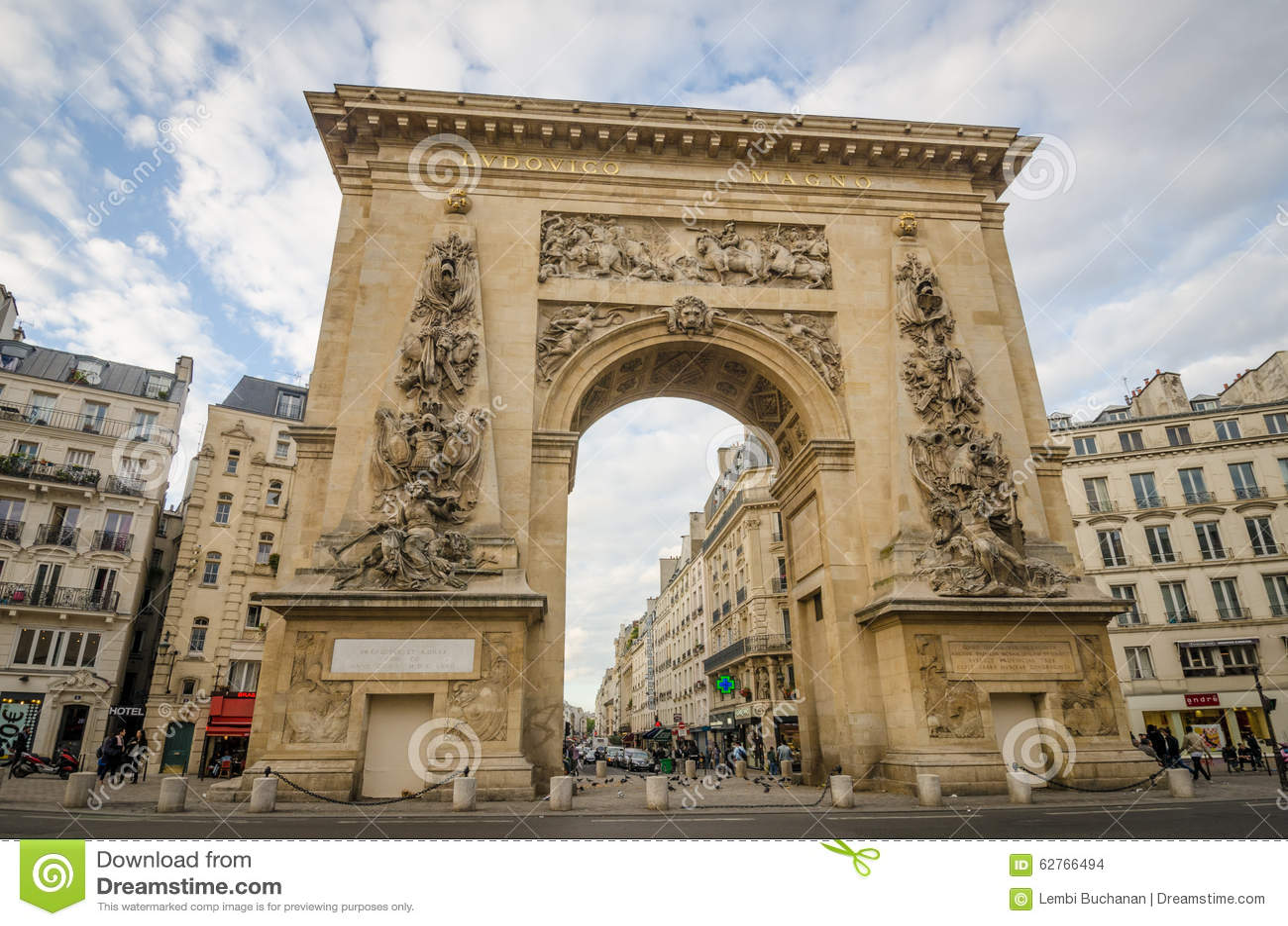 porte saint denis in paris looking down rue saint denis editorial stock image image 62766494. Black Bedroom Furniture Sets. Home Design Ideas
