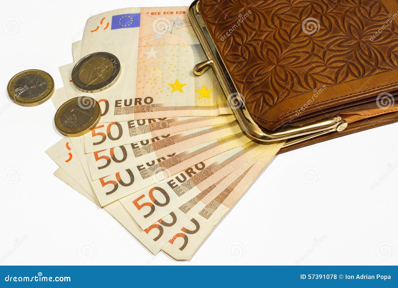 Portefeuille avec de l euro argent