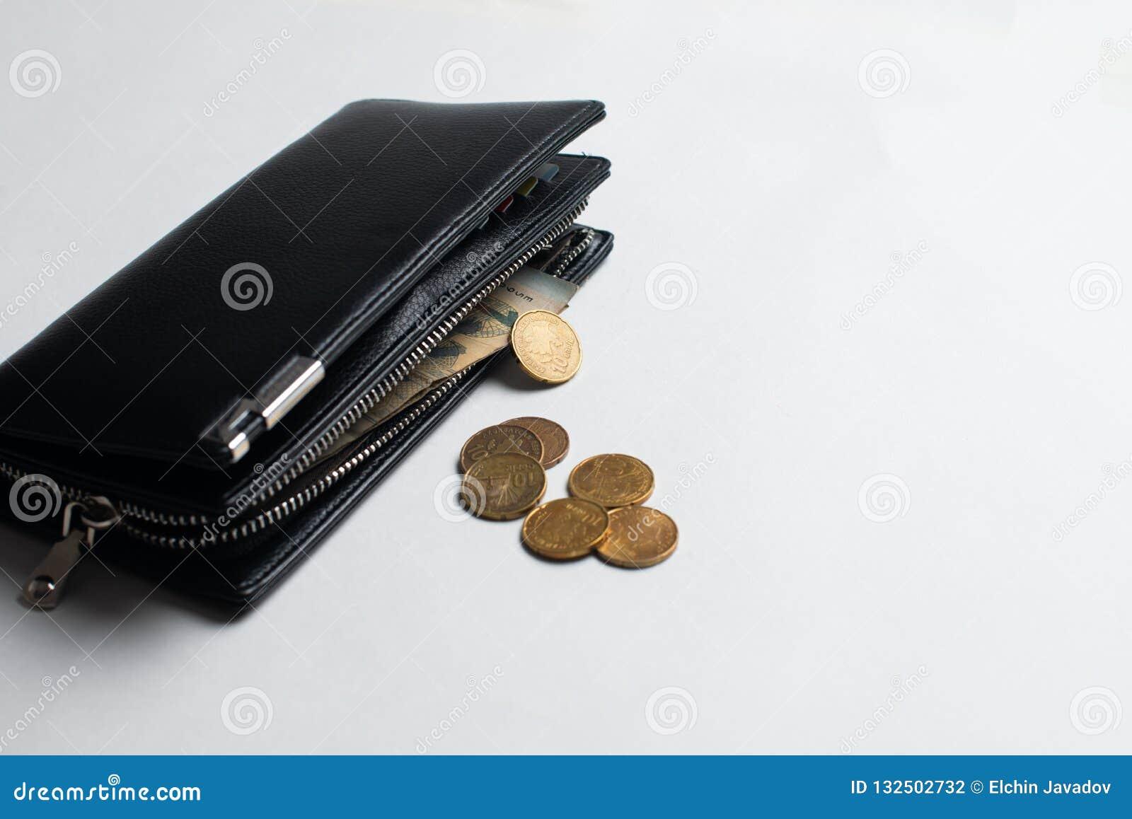 Portefeuille avec des pièces, portefeuille avec l argent, plein portefeuille avec des billets et