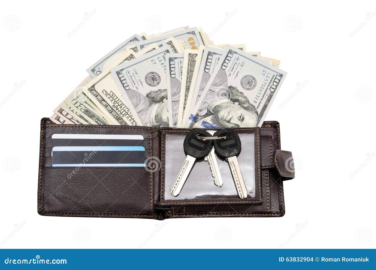 Portefeuille en cuir avec des cartes de crédit et des dollars