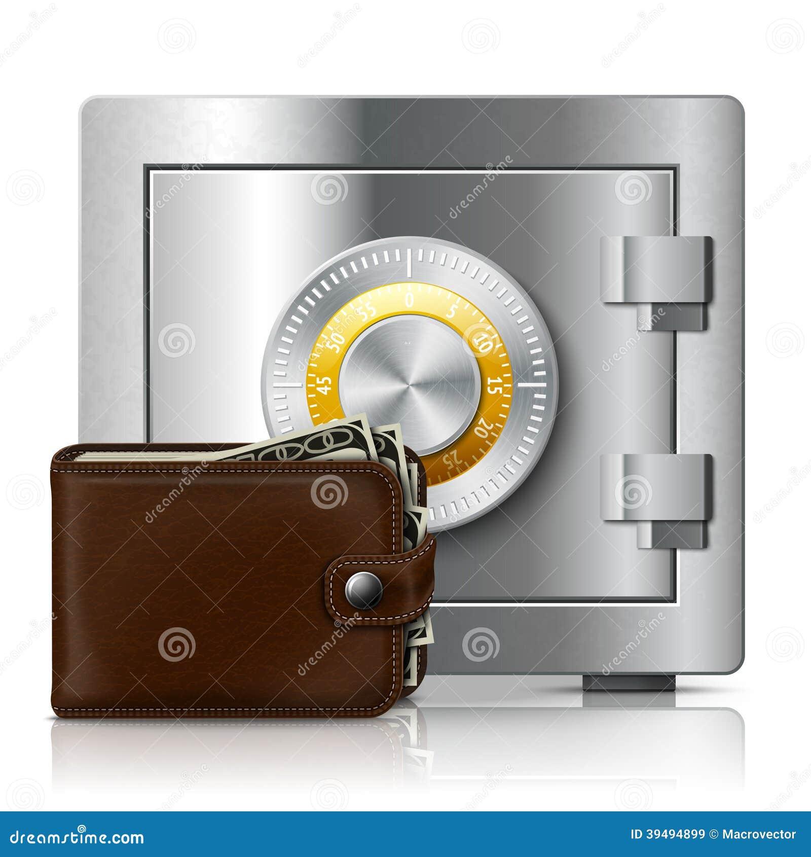 Portefeuille et coffre fort en cuir avec la serrure de code illustration de v - Porte blindee avec code ...