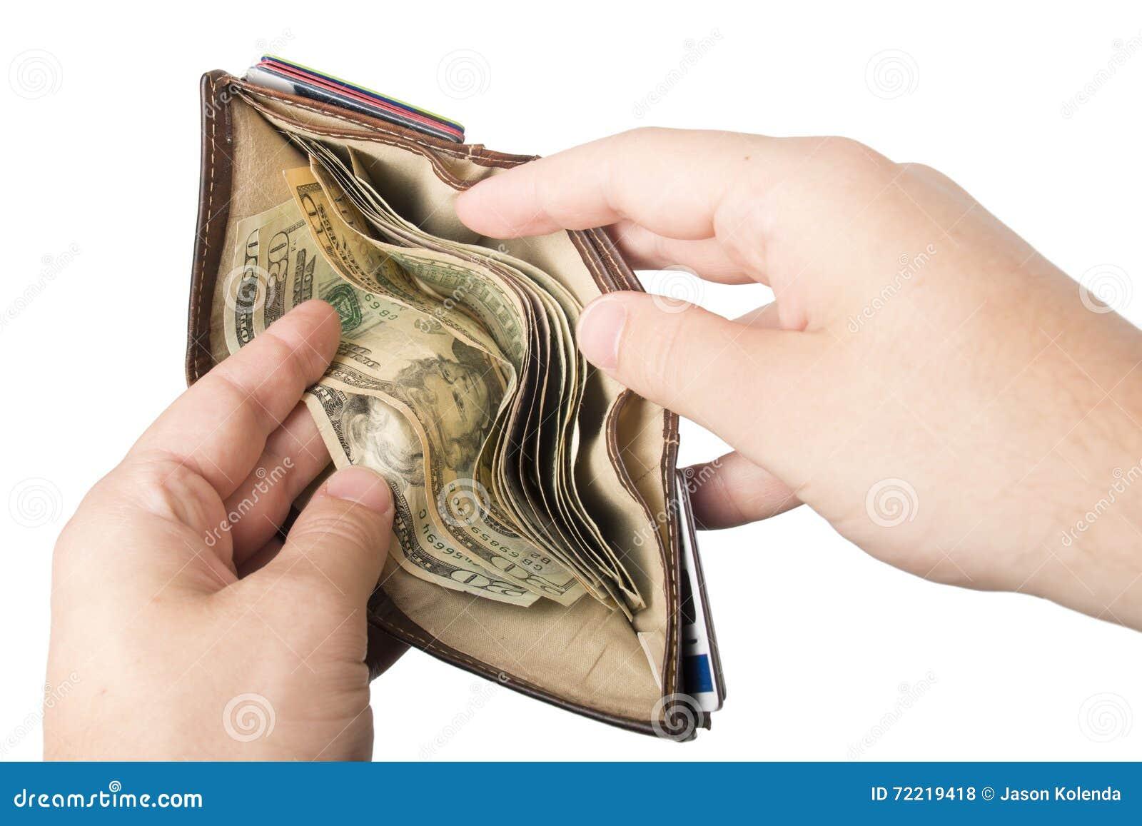 Portefeuille gehouden met contant geld open