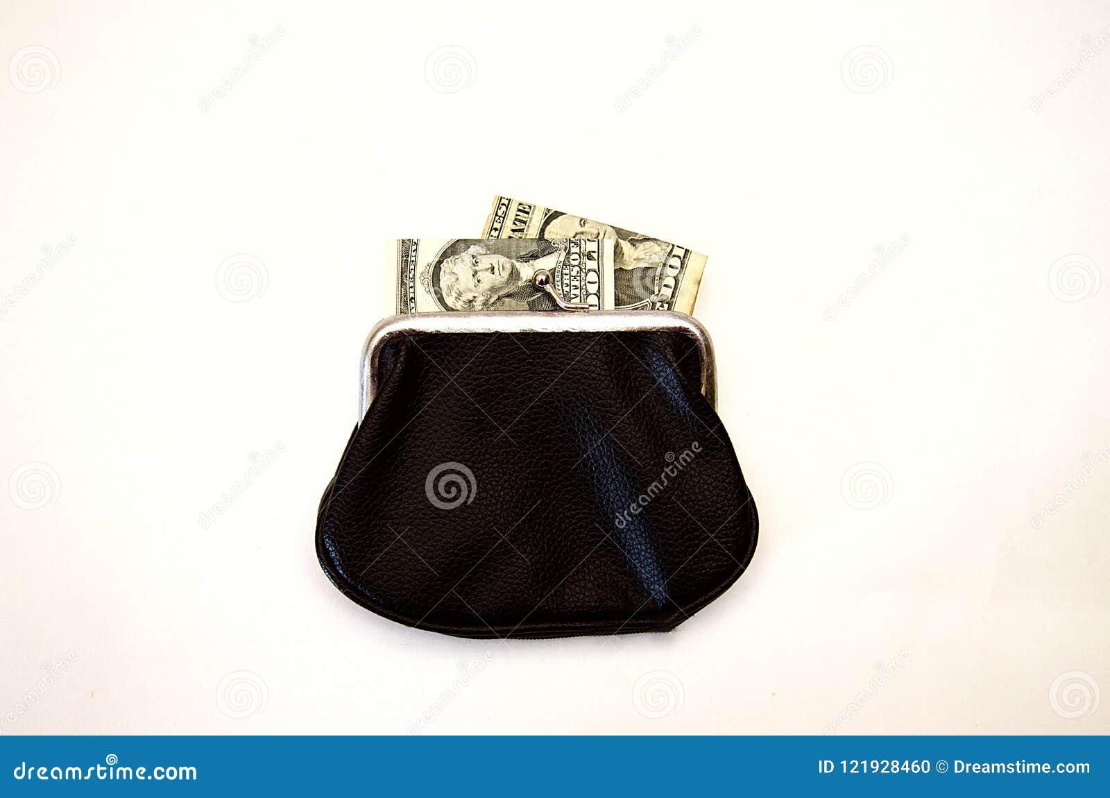 Portefeuille noir avec l argent sur le fond blanc