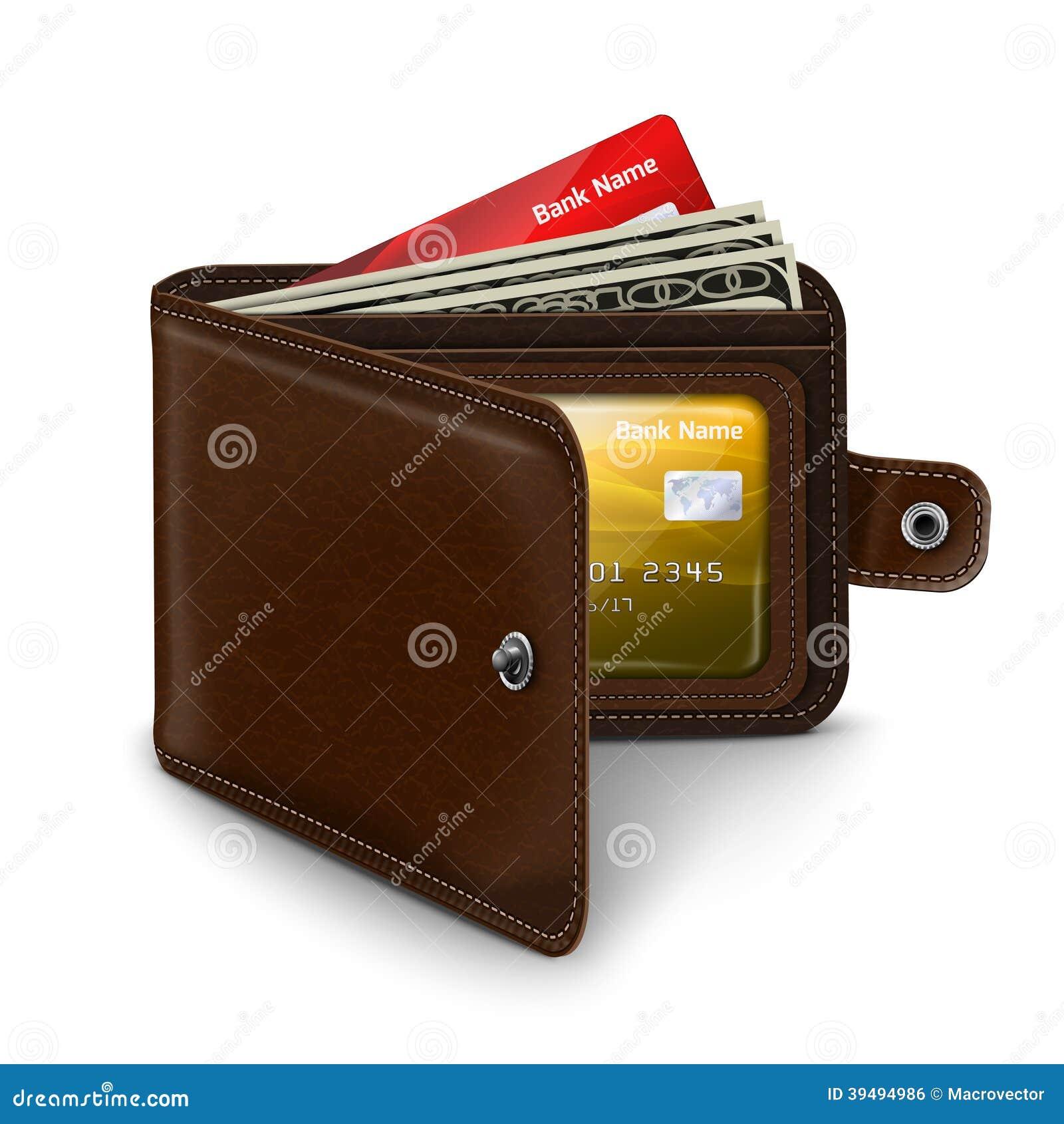 Portefeuille ouvert de cuir avec des factures d argent de carte de crédit