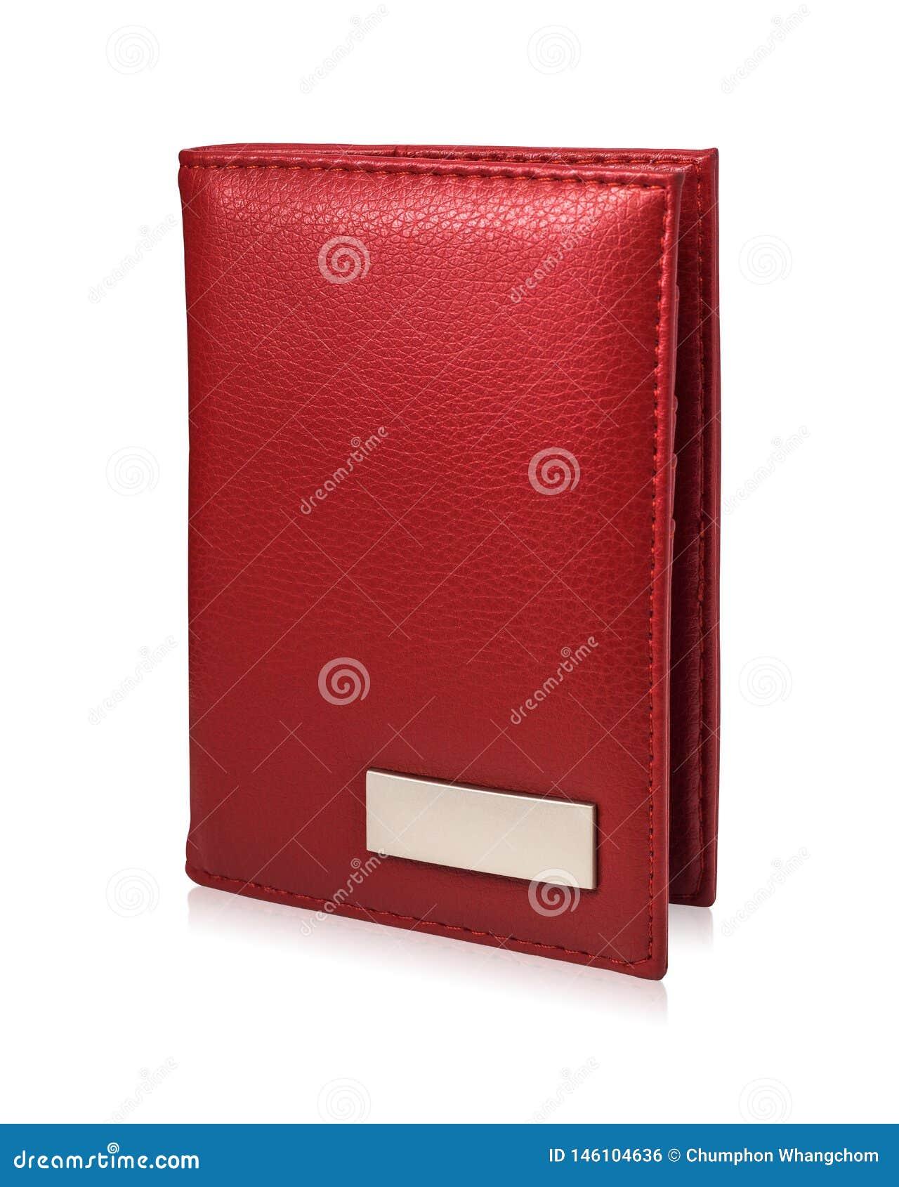 Portefeuille rouge de passeport d isolement sur le fond blanc Calibre de la bourse en cuir pour votre conception
